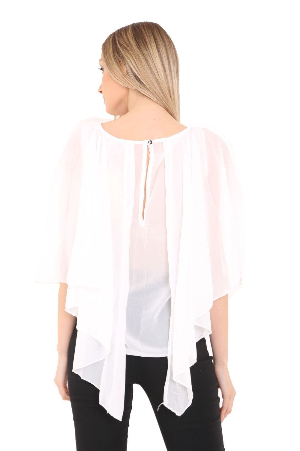 Womens-Ladies-Cape-Grecian-Sleeve-Top-Front-Pleated-Shirt-Chiffon-Blouse