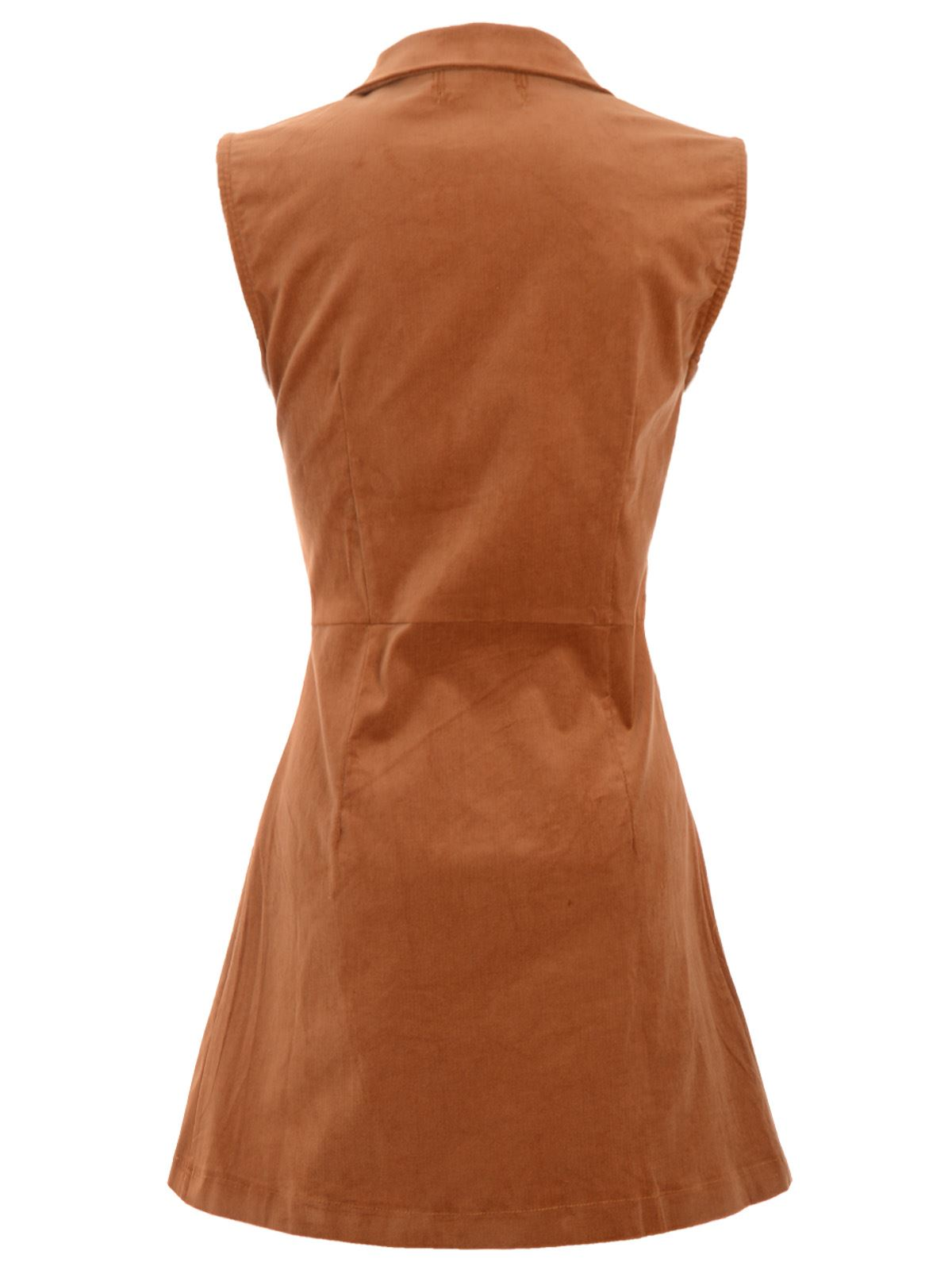 LADIES WOMENS SLEEVELESS FRONT BUTTONED TWO CHEST POCKET FAUX SUEDE A-LINE DRESS