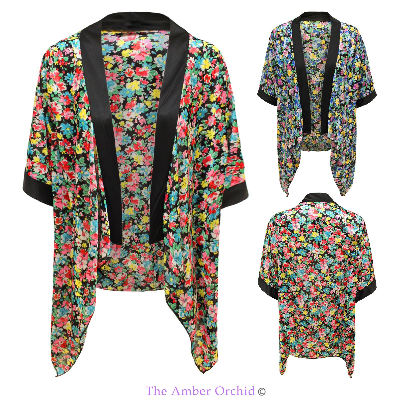 Damen blumenmuster kimono vintage top umhang offene for Kimono jacke damen