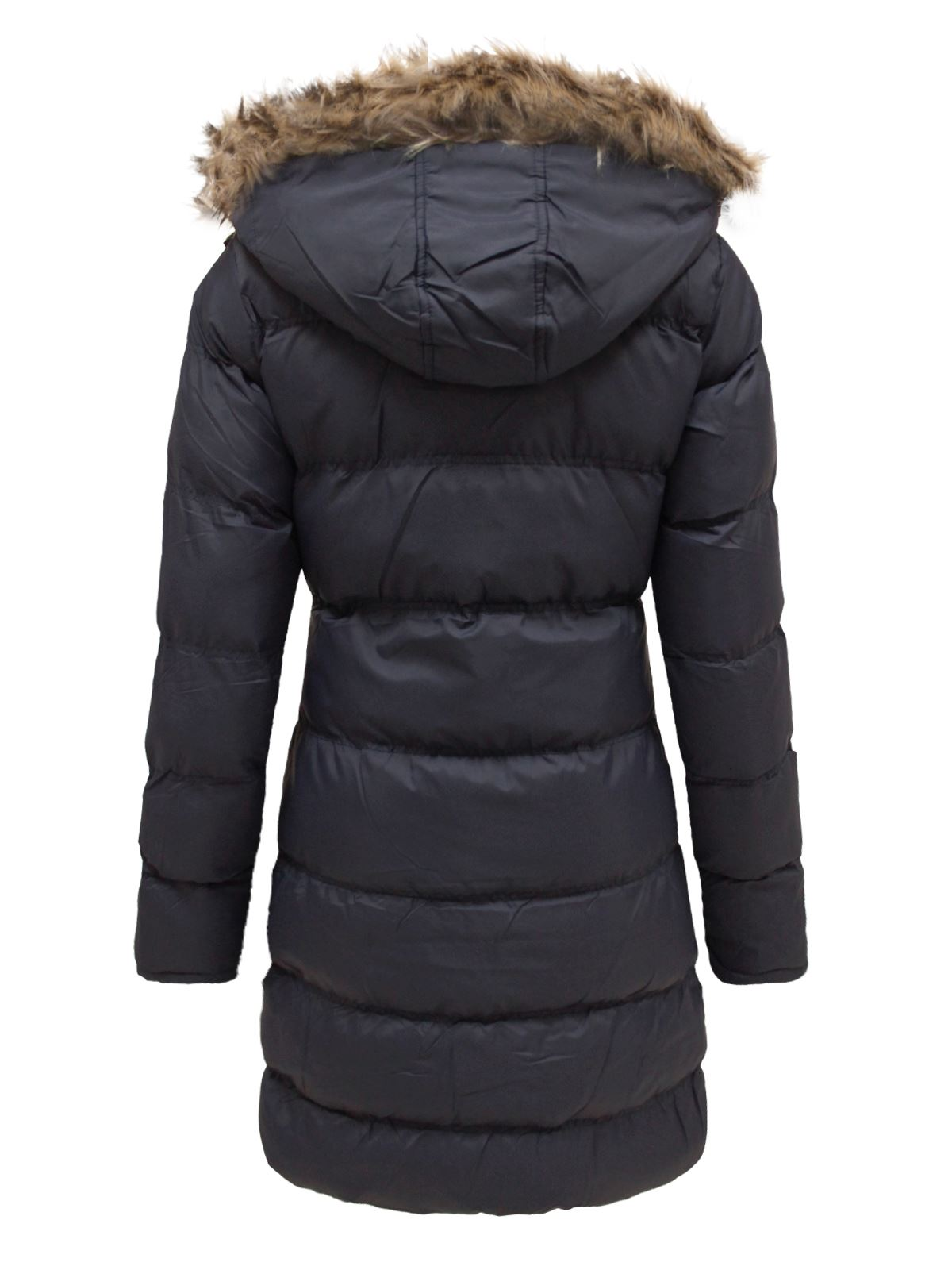 Ladies Padded Quilted Puffer Long Parka Fur Hooded Jacket