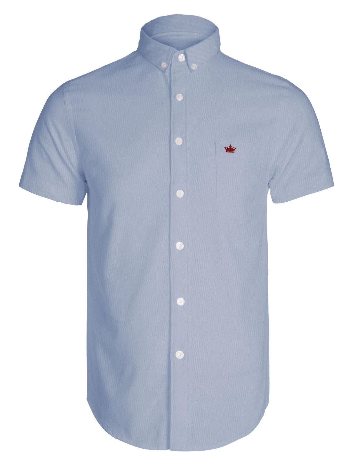 Mens New Short Sleeve Elegant Oxford Shirt Crown Pocket