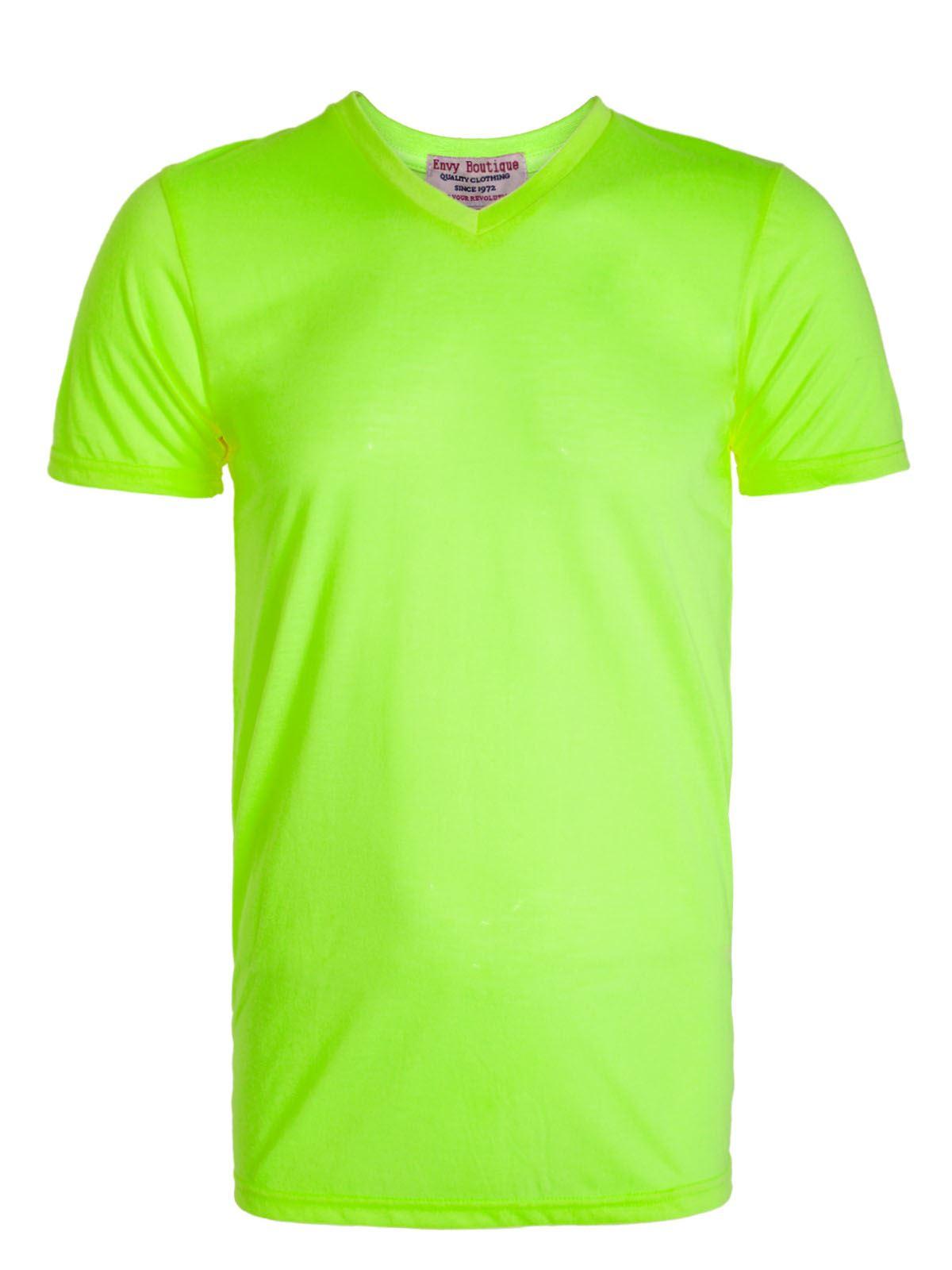 New Mens V Neck Neon Summer Top Short Sleeve Bright