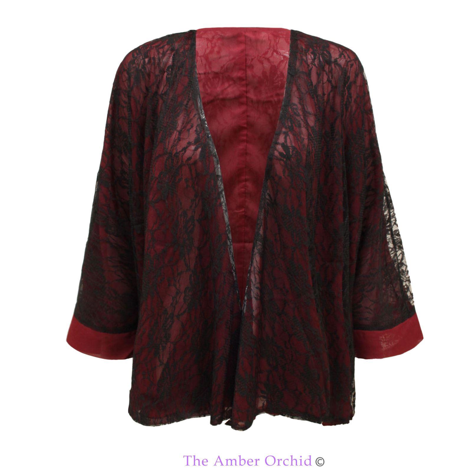 Damen retro spitzentop kimono boho hippie freizeitmantel - Kimono jacke damen ...
