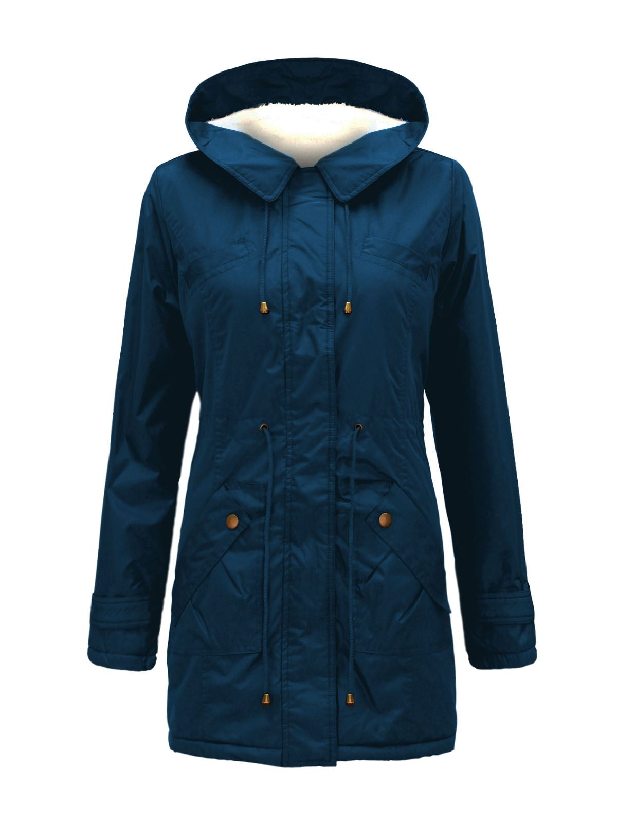 LADIES WOMENS FLEECE HOODED WARM LONG QUILTED WINTER TRENCH COAT JACKET 10-26