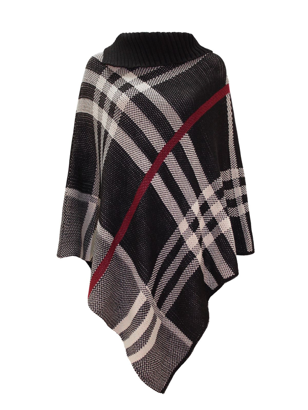 womens ladies checked red band wrap shawl poncho knitted winter cape one size ebay. Black Bedroom Furniture Sets. Home Design Ideas
