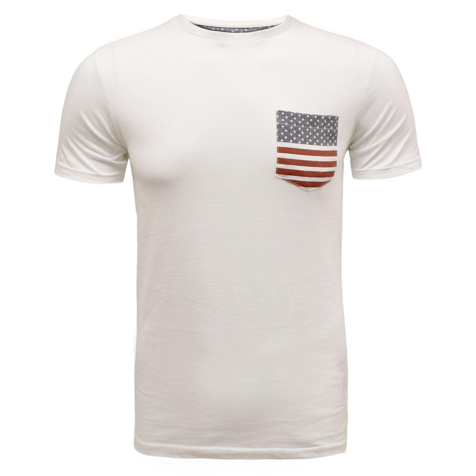 Brave soul mens summer britain uk usa flag design pocket for Mens designer t shirts uk