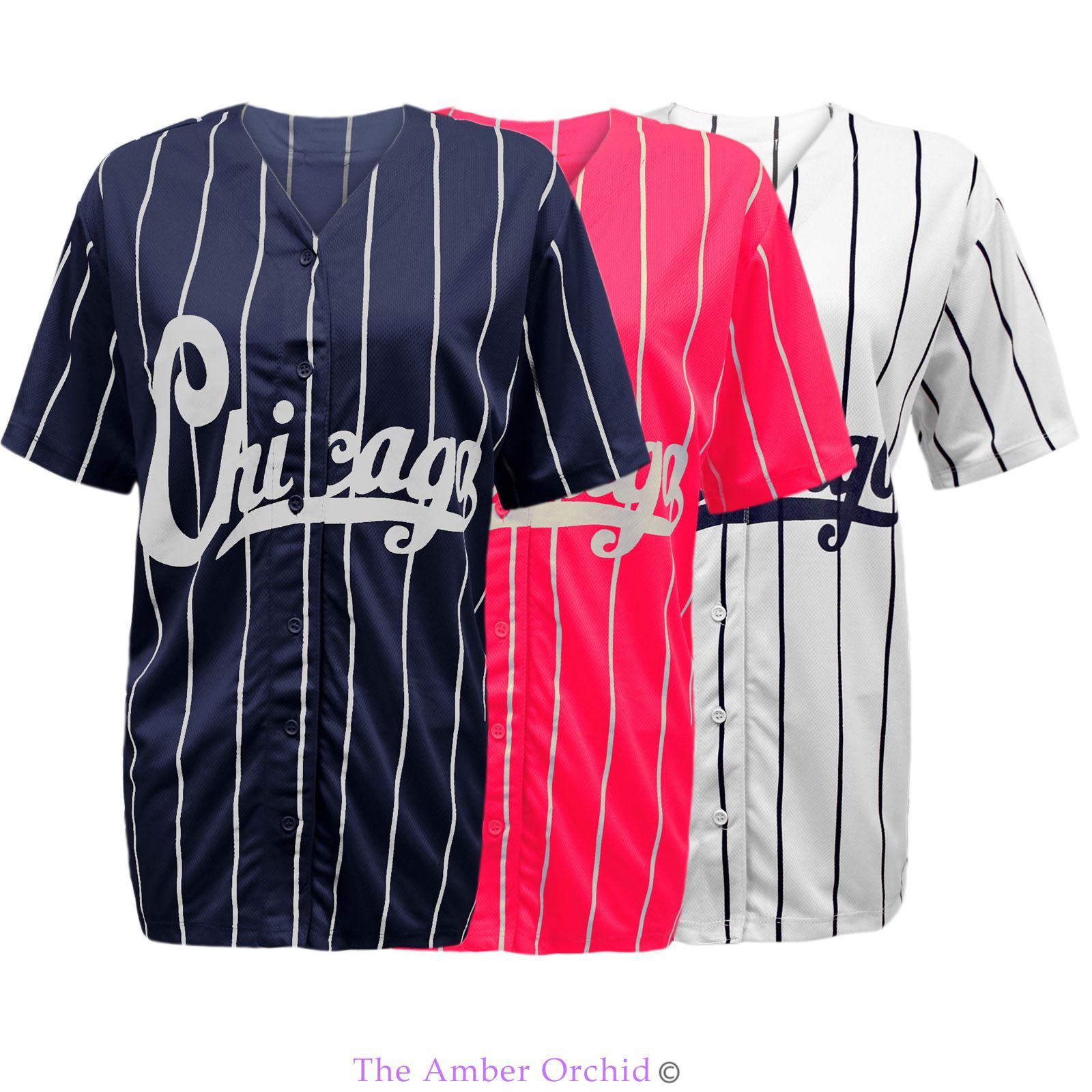 new womens ladies chicago varsity stripes american baseball jersey top t shirt ebay. Black Bedroom Furniture Sets. Home Design Ideas
