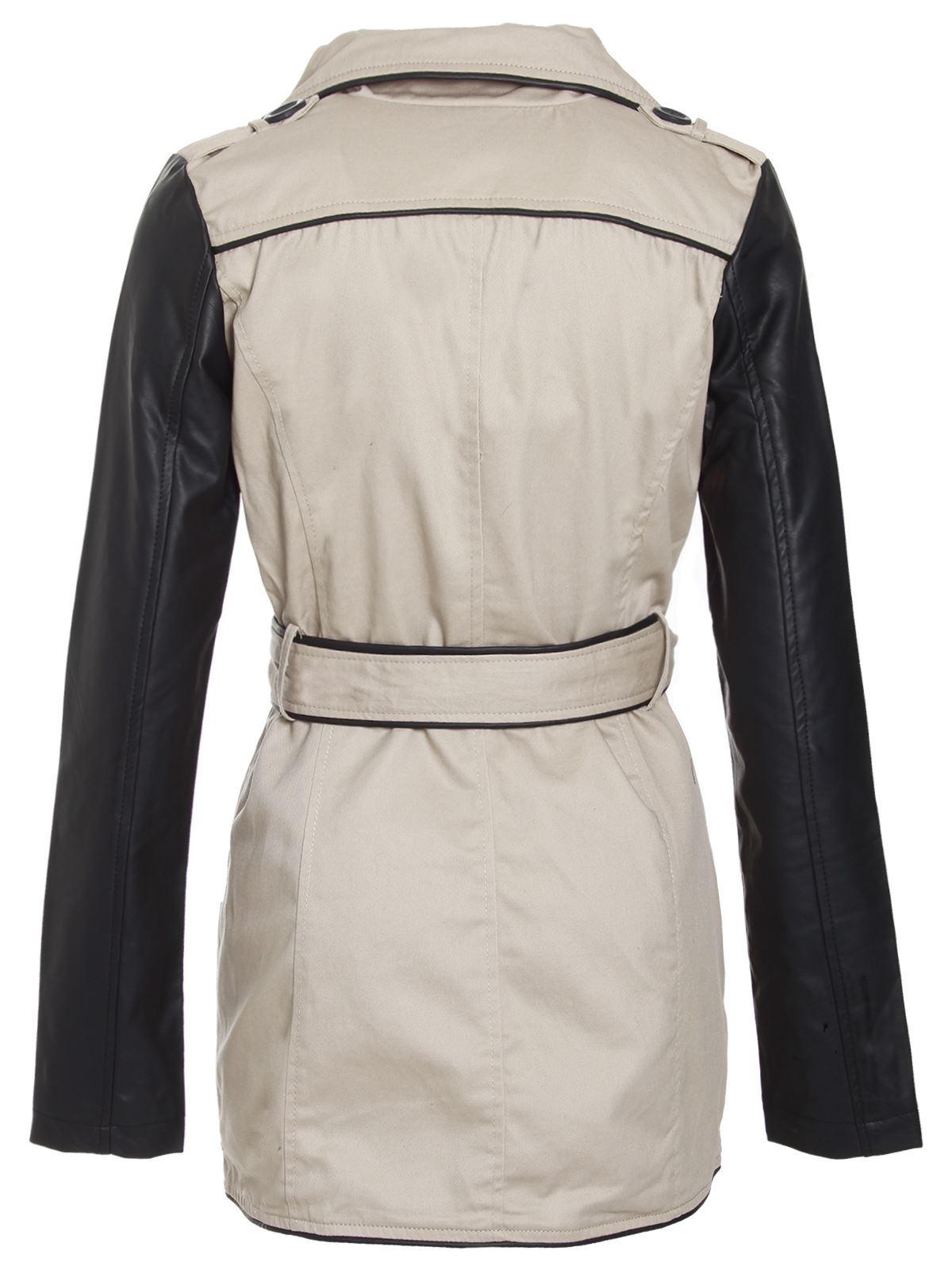 Brave-Soul-Ladies-Womens-Pu-Sleeves-Double-Breasted-Trench-Mac-Coat-Jacket