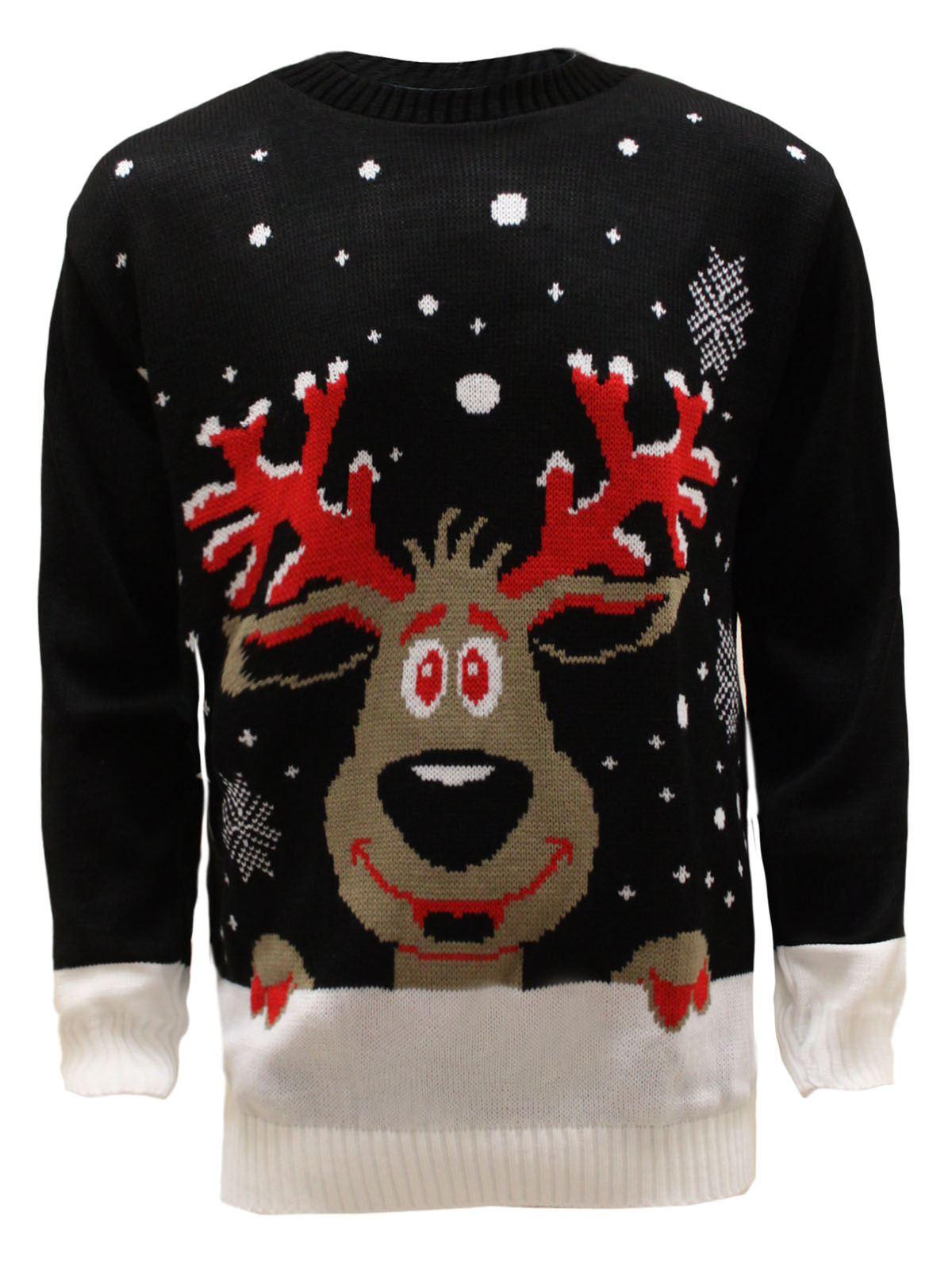 mens unisex xmas knit christmas jumper rudolf santa. Black Bedroom Furniture Sets. Home Design Ideas