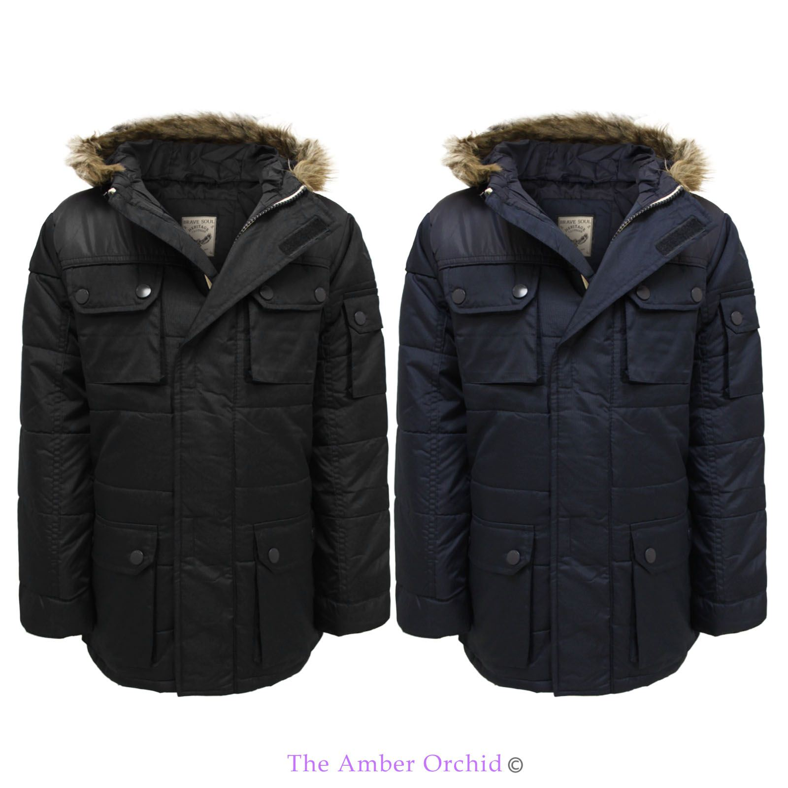 brave soul boys back to school parka jacket fur hooded winter kids