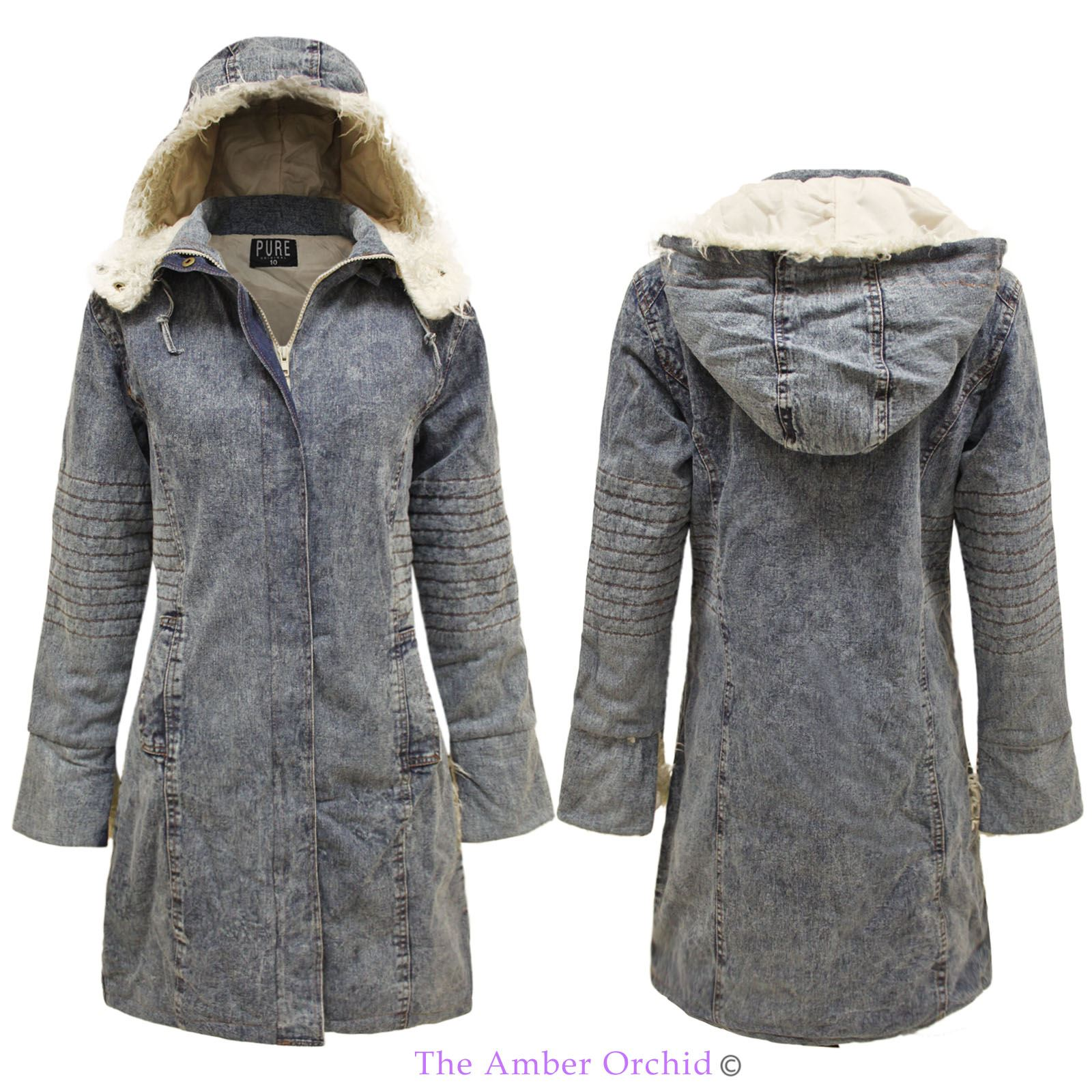 neu damen kunstpelz kapuze acid wash parka damen winter denim lange jacke mantel ebay. Black Bedroom Furniture Sets. Home Design Ideas