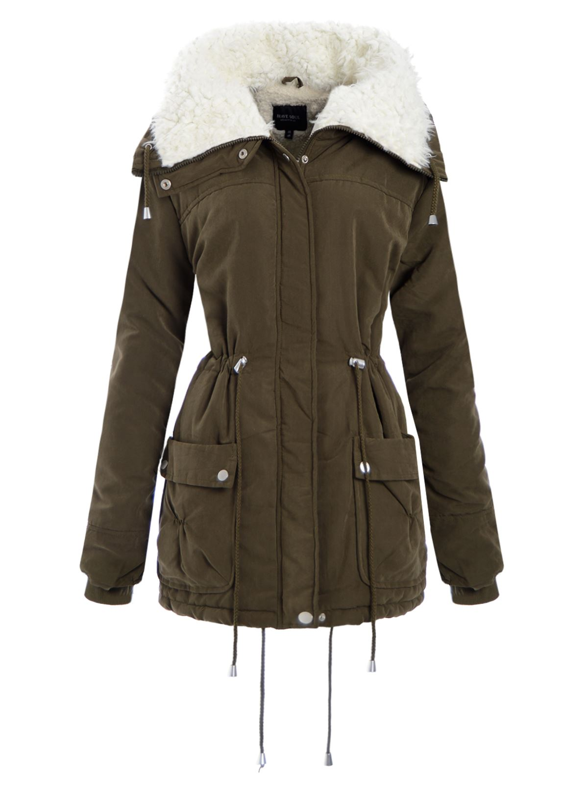 ladies womens military parka coat high fleece neck cargo