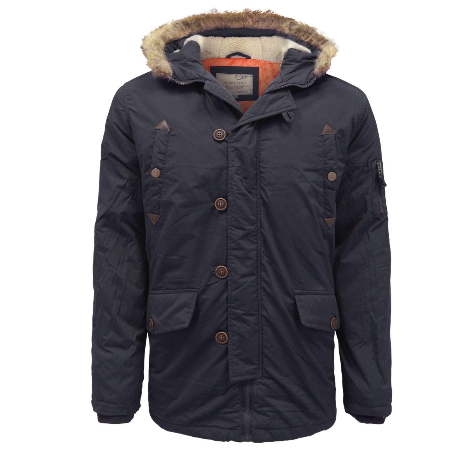 brave soul mens padded lined taslan parka winter jacket. Black Bedroom Furniture Sets. Home Design Ideas