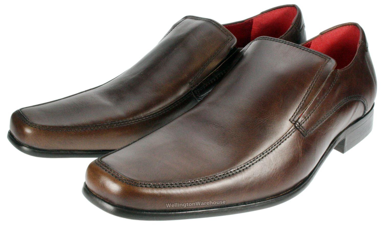 Red Tape Kelty Mens Black Brown Slip On Smart Leather Shoes | EBay
