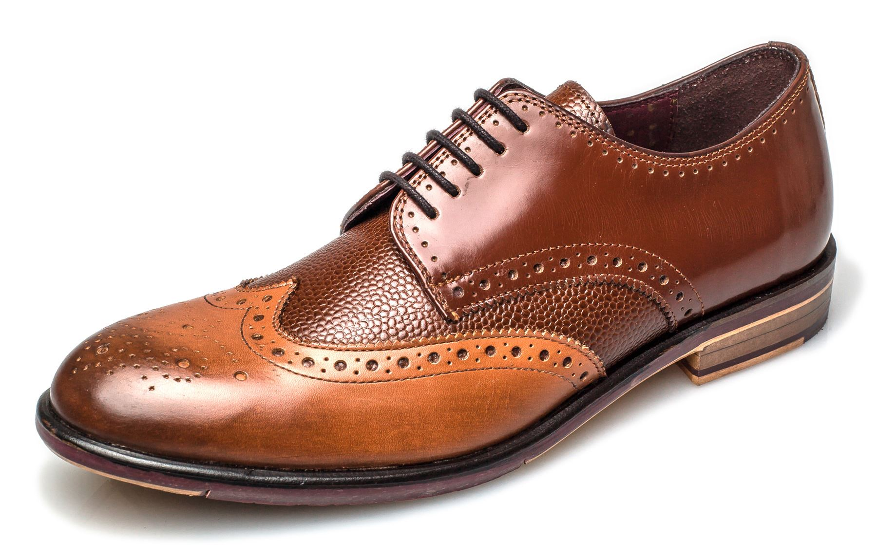 London Brogues Uomo Lincoln 5 Eye  Uomo Brogues Leder Sole Derby Schuhes 833f81