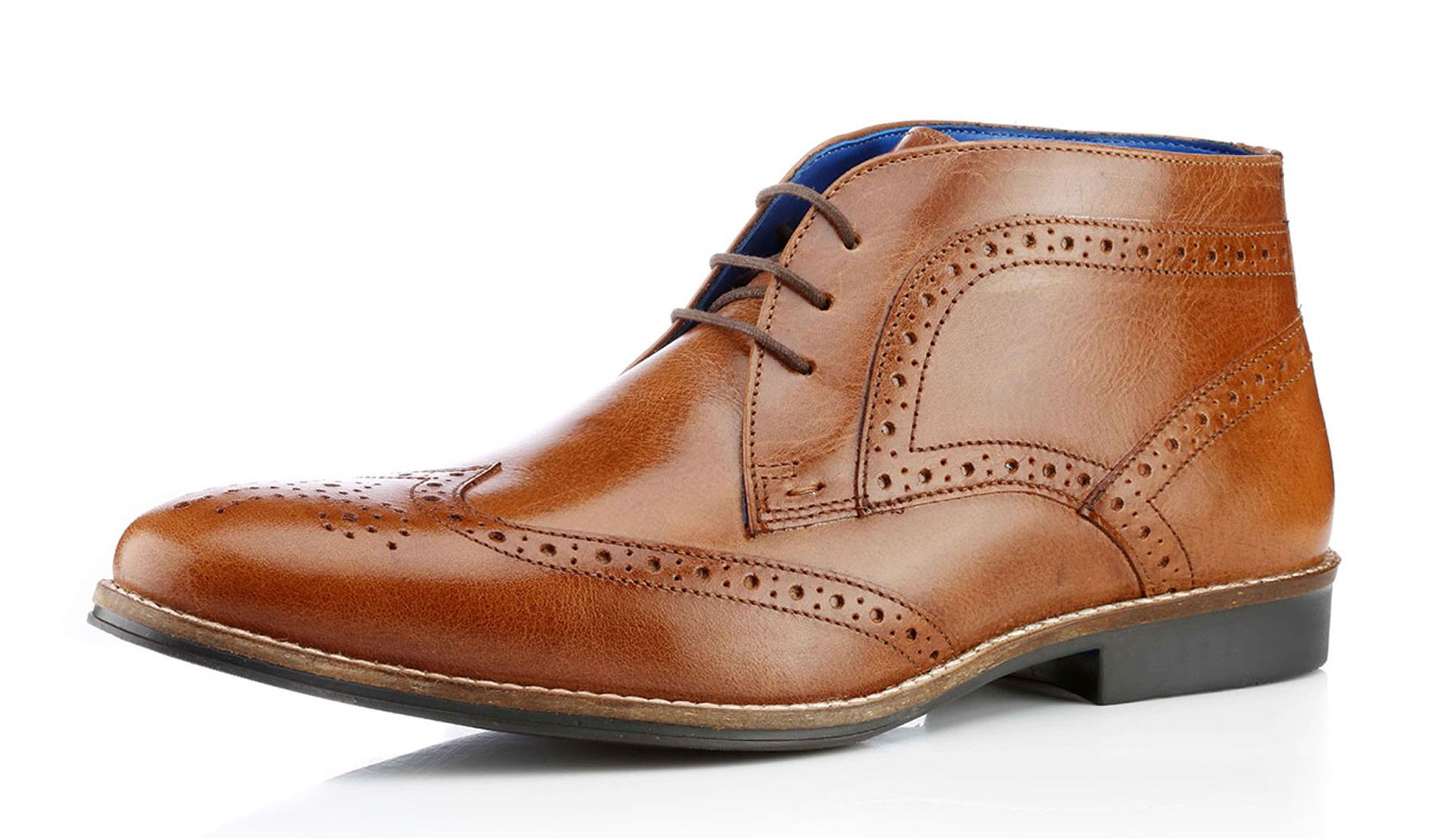 Brogue Boots Tan Leather - Tan Redtape