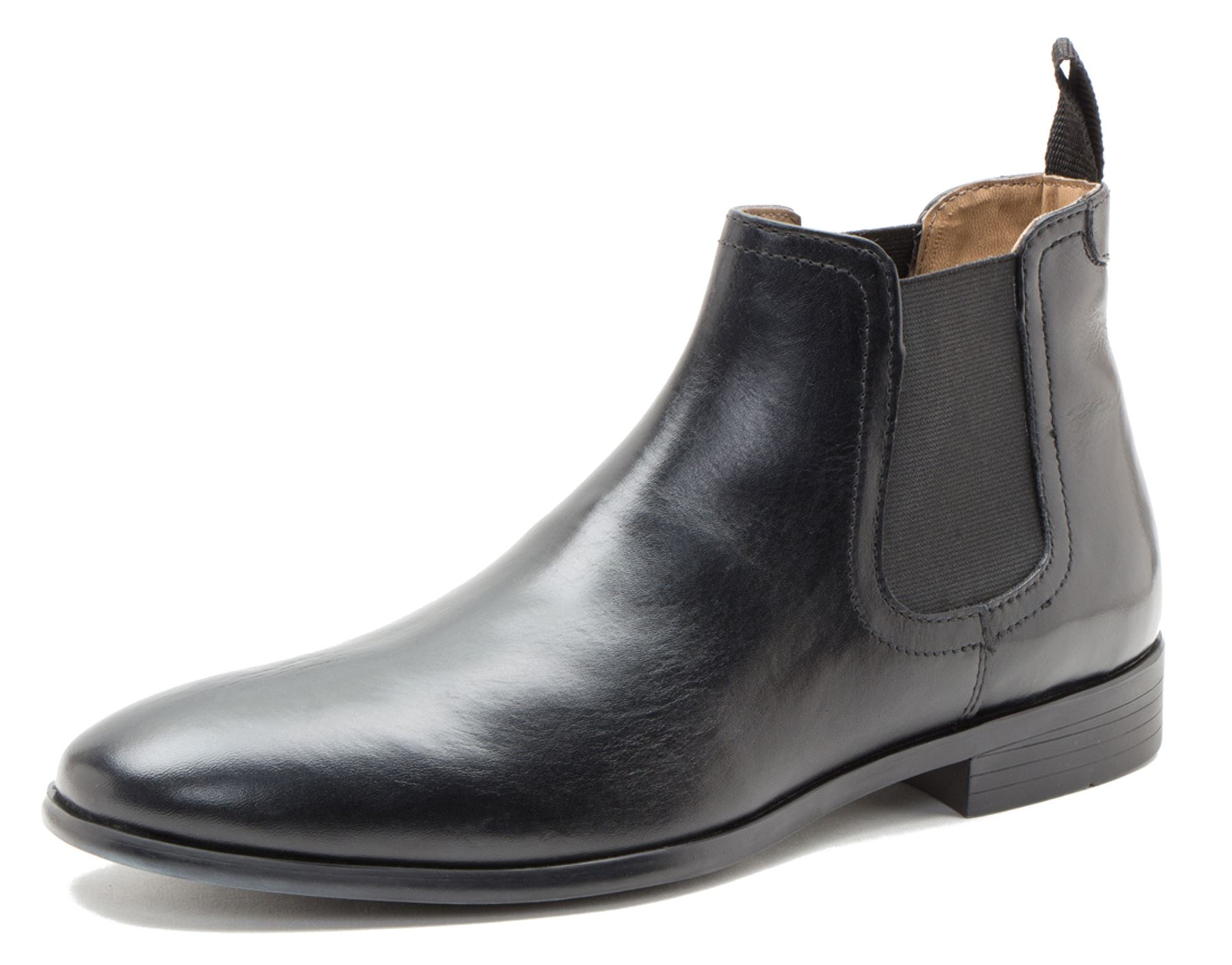 Red Tape Beeston Black Tan Mens Leather Pull On Chelsea Boots ...