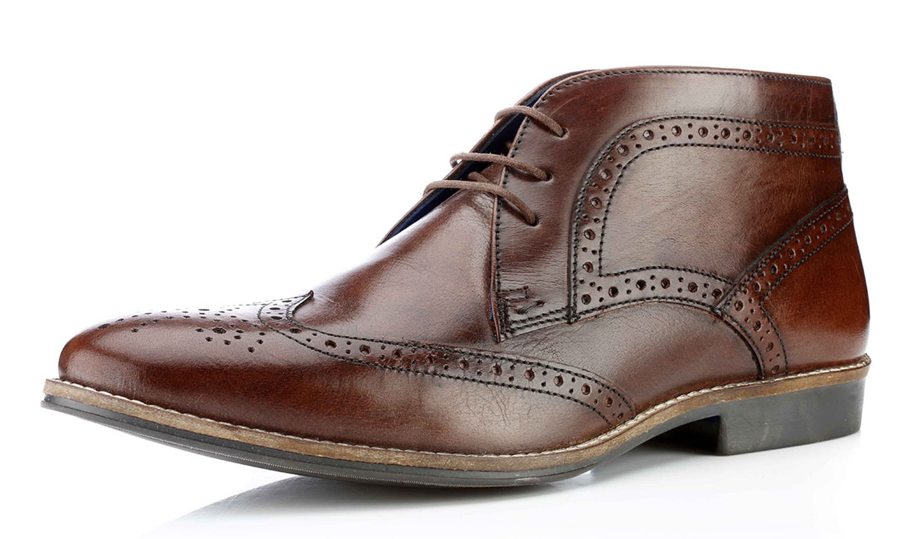 Red Tape Milton Mens Lace Up Brogue Leather Ankle Boots ...