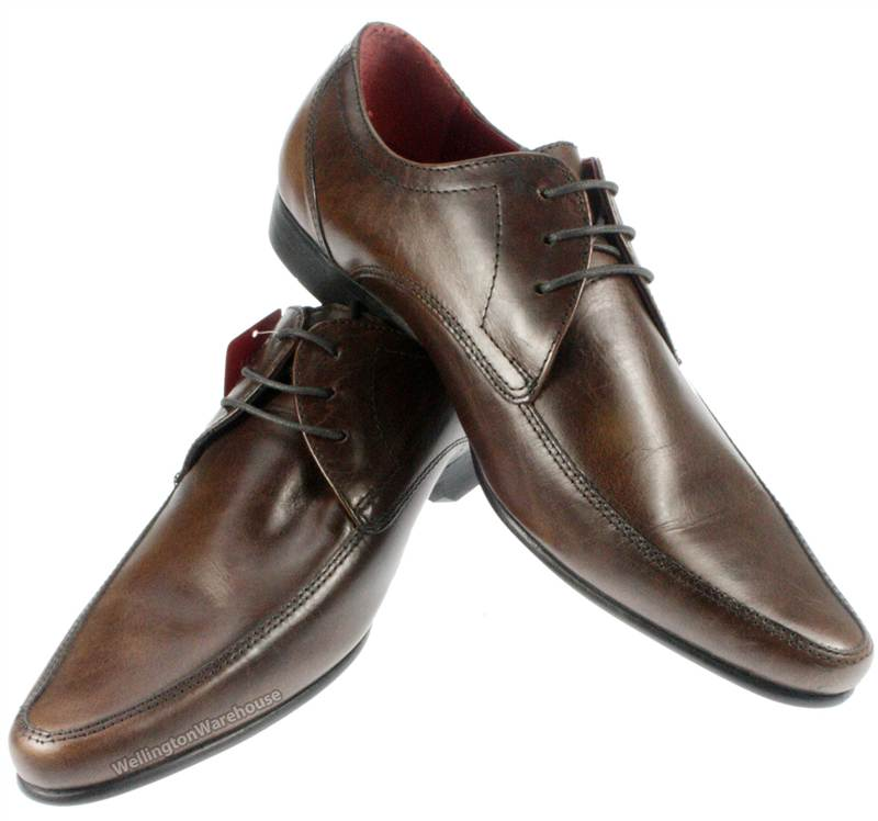 Mens Red Tape Hollins Tan Brown Leather Lace up Pointy toe Shoes ...