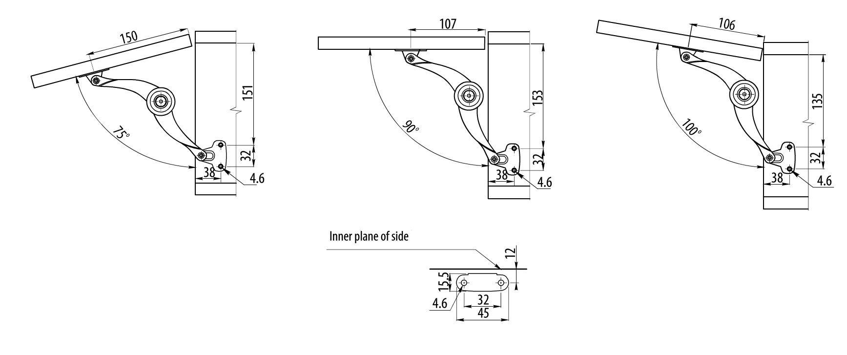 Cabinet Mechanical Adjustable Lift Door Hinge Soft Stay