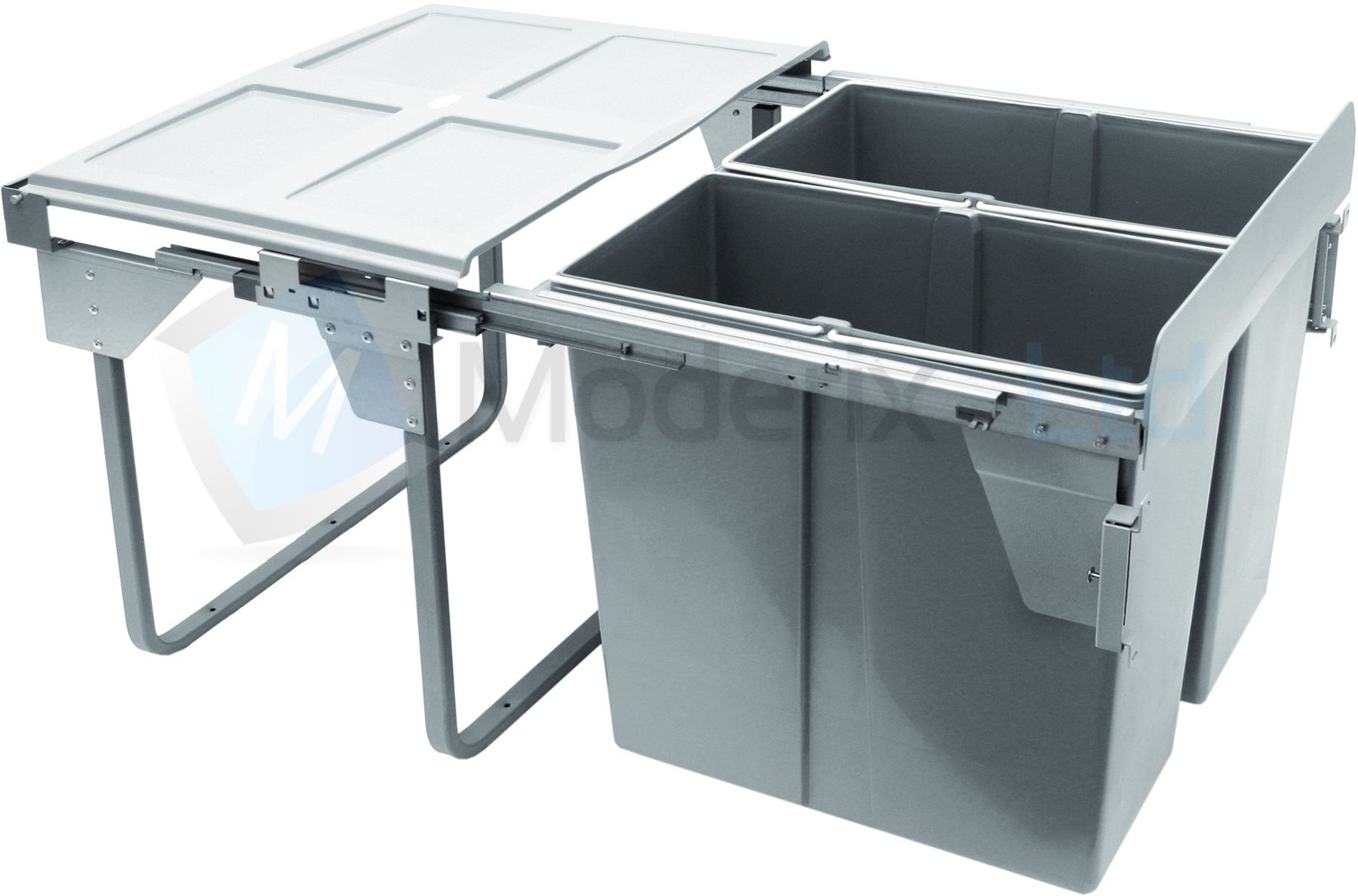 Kitchen Trash And Recycle Bins: Kitchen Pull Out Plastic Recycling Bin, Waste Bin Full