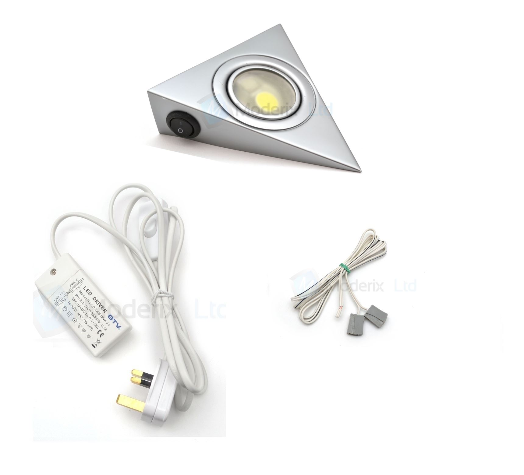 2x Led Under Cabinet Strip Lights 12w Led 12v Driver: LED Triangle With Switch Aluminium Kitchen Under Cabinet