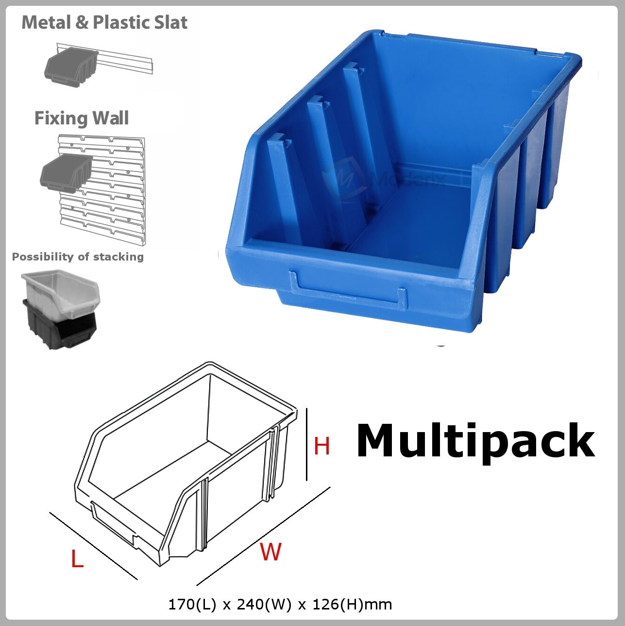 Multi Ergo L Blue Box Plastic Parts Storage Stacking
