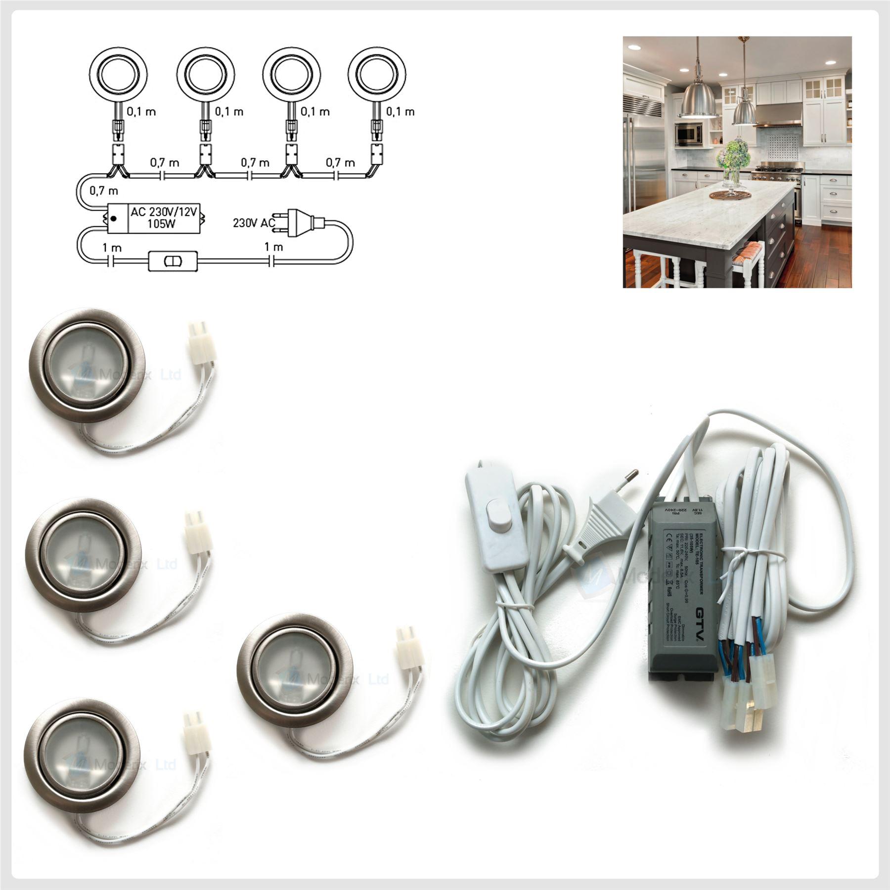 round halogen g4 12v 20w recessed kit under cabinet shelf cupboard set. Black Bedroom Furniture Sets. Home Design Ideas