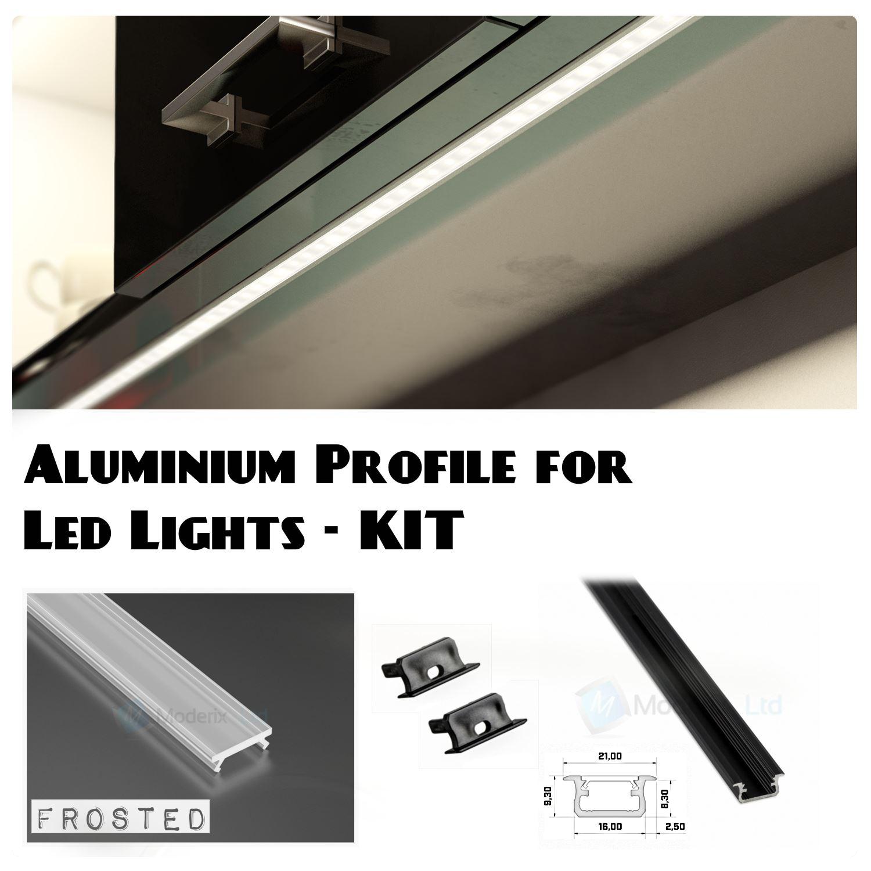 aluminium profile recessed 5 colours 1m for led light strip with cover caps ebay. Black Bedroom Furniture Sets. Home Design Ideas