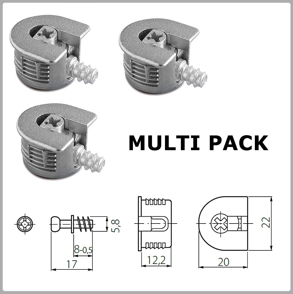 Silver Knock Down Cam Lock Flat Pack Furniture Fitting