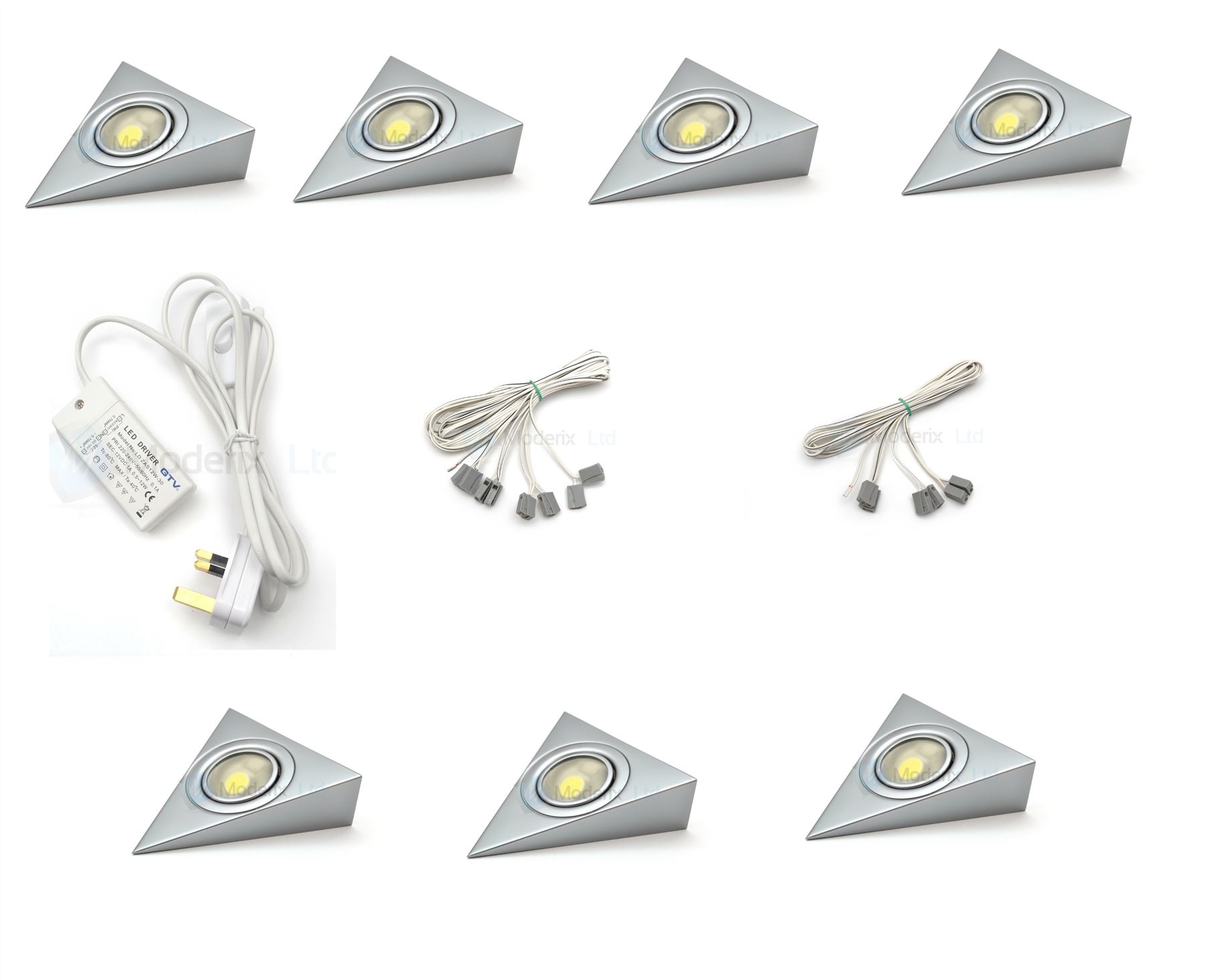 Led triangle aluminium kitchen under cabinet cupboard for Placard de cuisine en alluminum le havre
