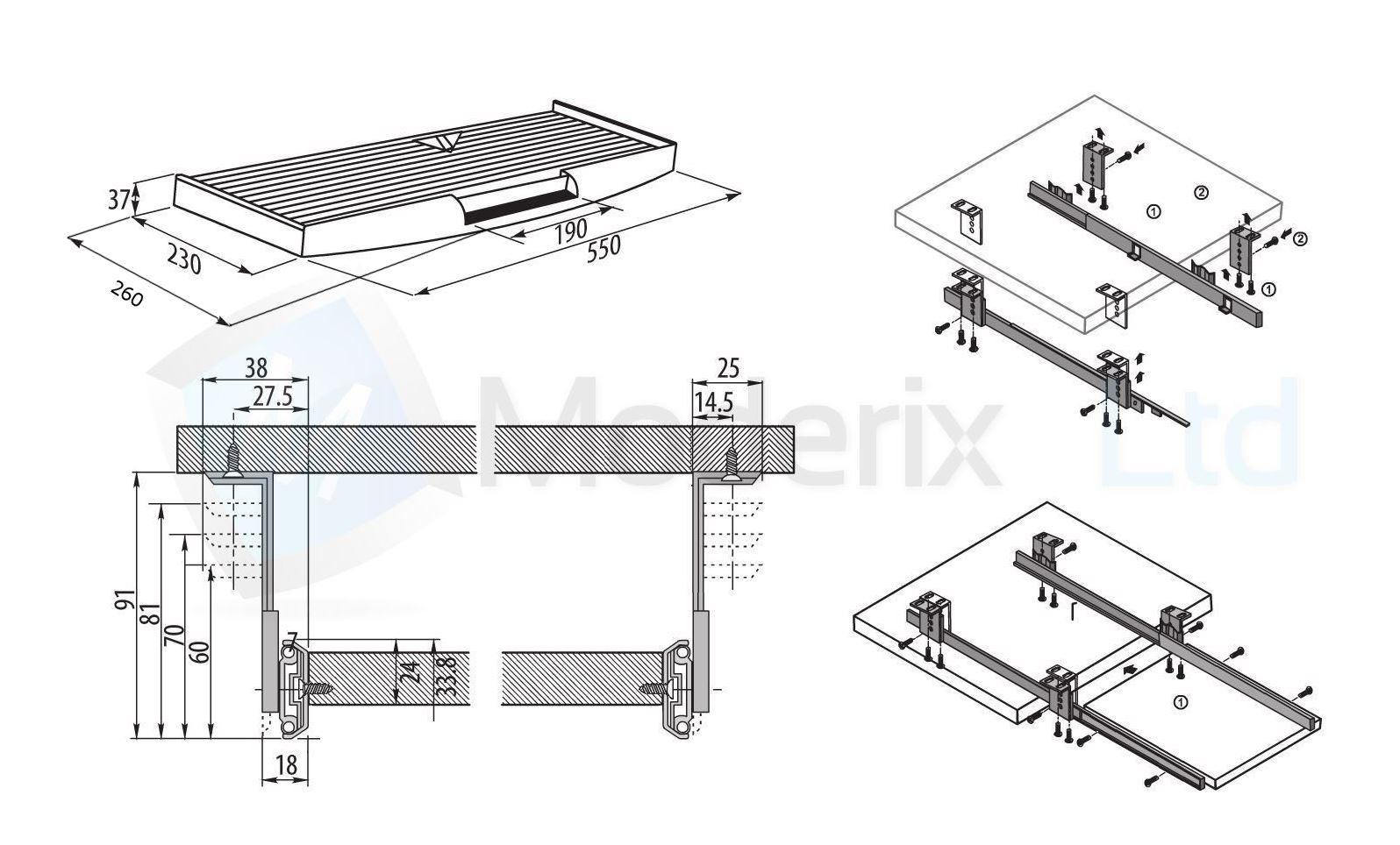 kit de clavier tiroir rails coulissant tiroirs tiroir montage noir ebay. Black Bedroom Furniture Sets. Home Design Ideas