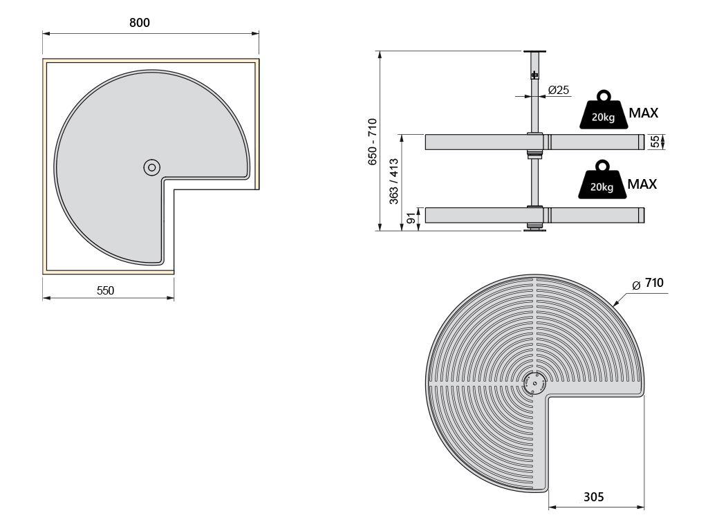 kuchenschrank karussell kaufen : Eckschrank 3/4 Drehboden Karussellboden Topfkarussell ?710 ?810 ...