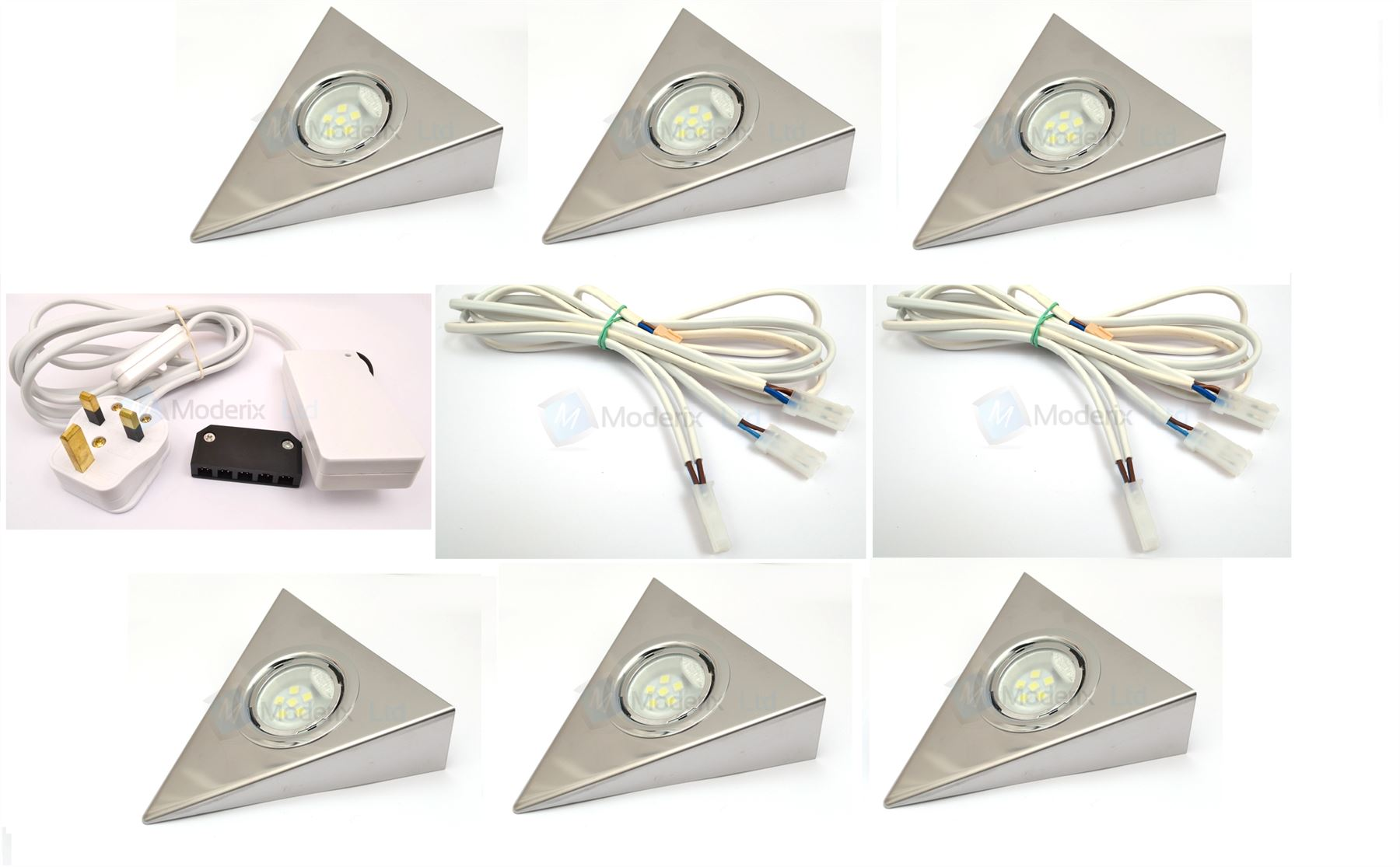 Led Triangle Chrome Kitchen Under Cabinet Cupboard Light