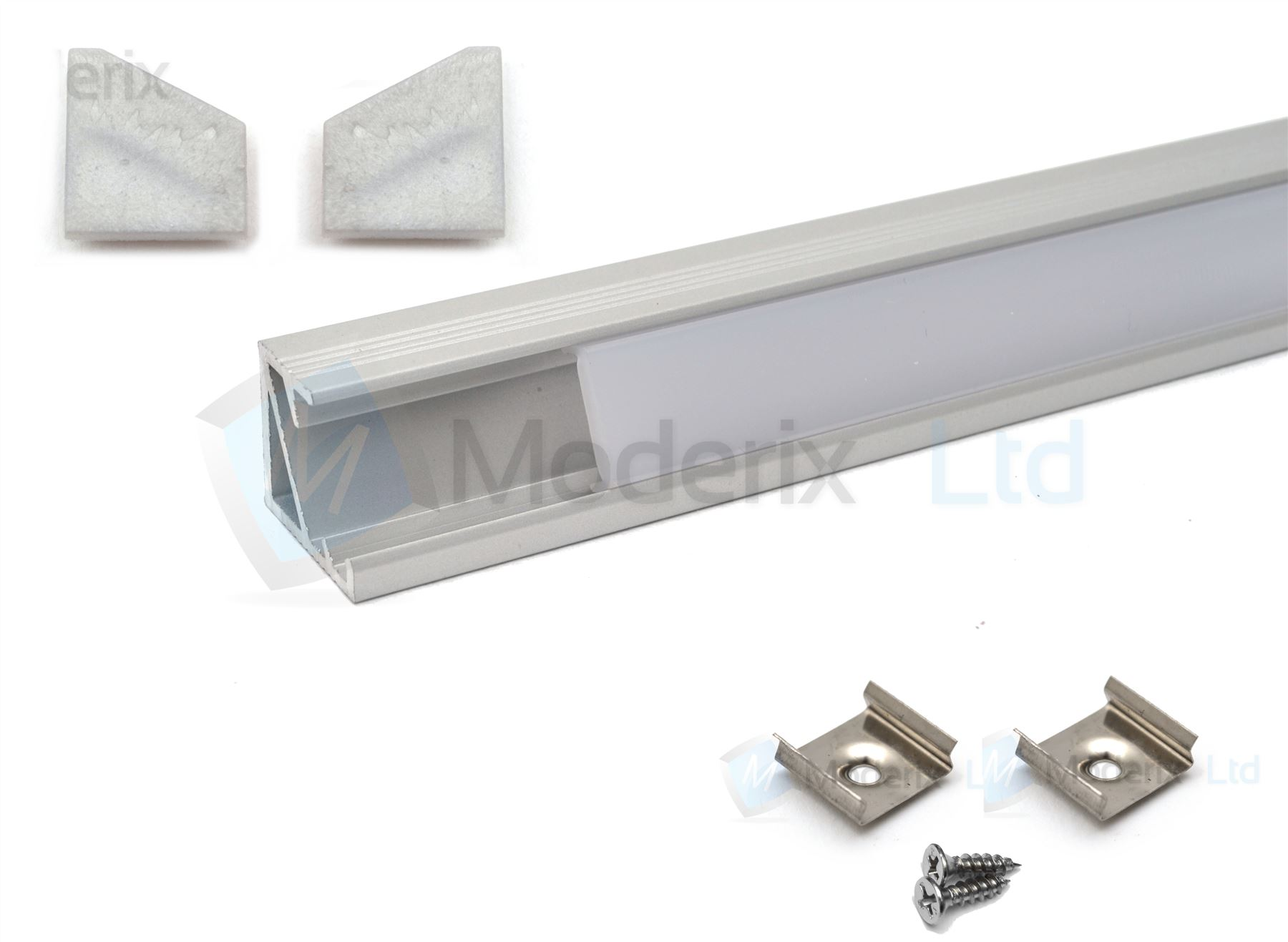 Perfil de aluminio para cintas de leds con difusor blanco - Perfil aluminio blanco ...