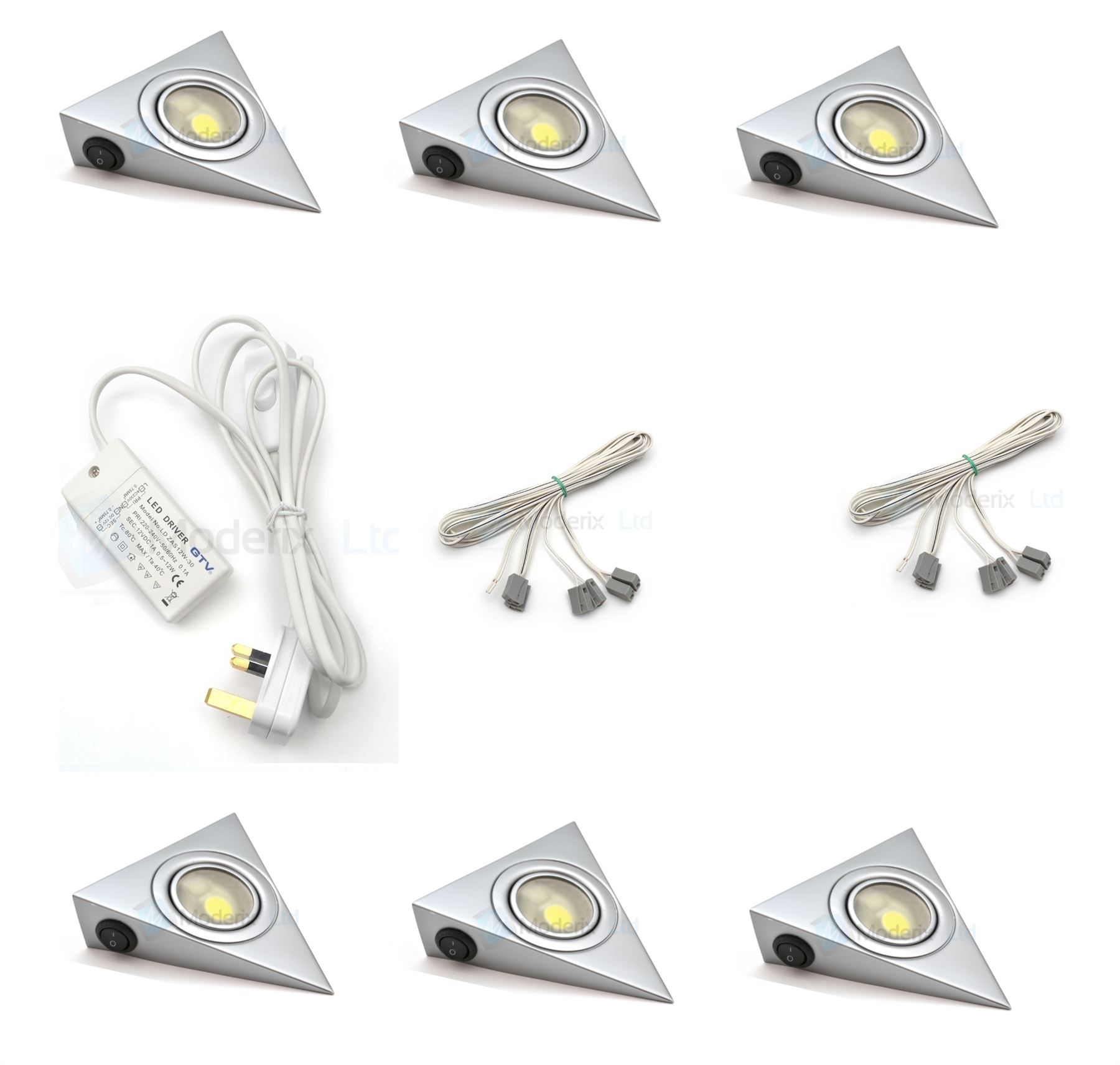 LED Triangle With Switch Aluminium Kitchen Under Cabinet