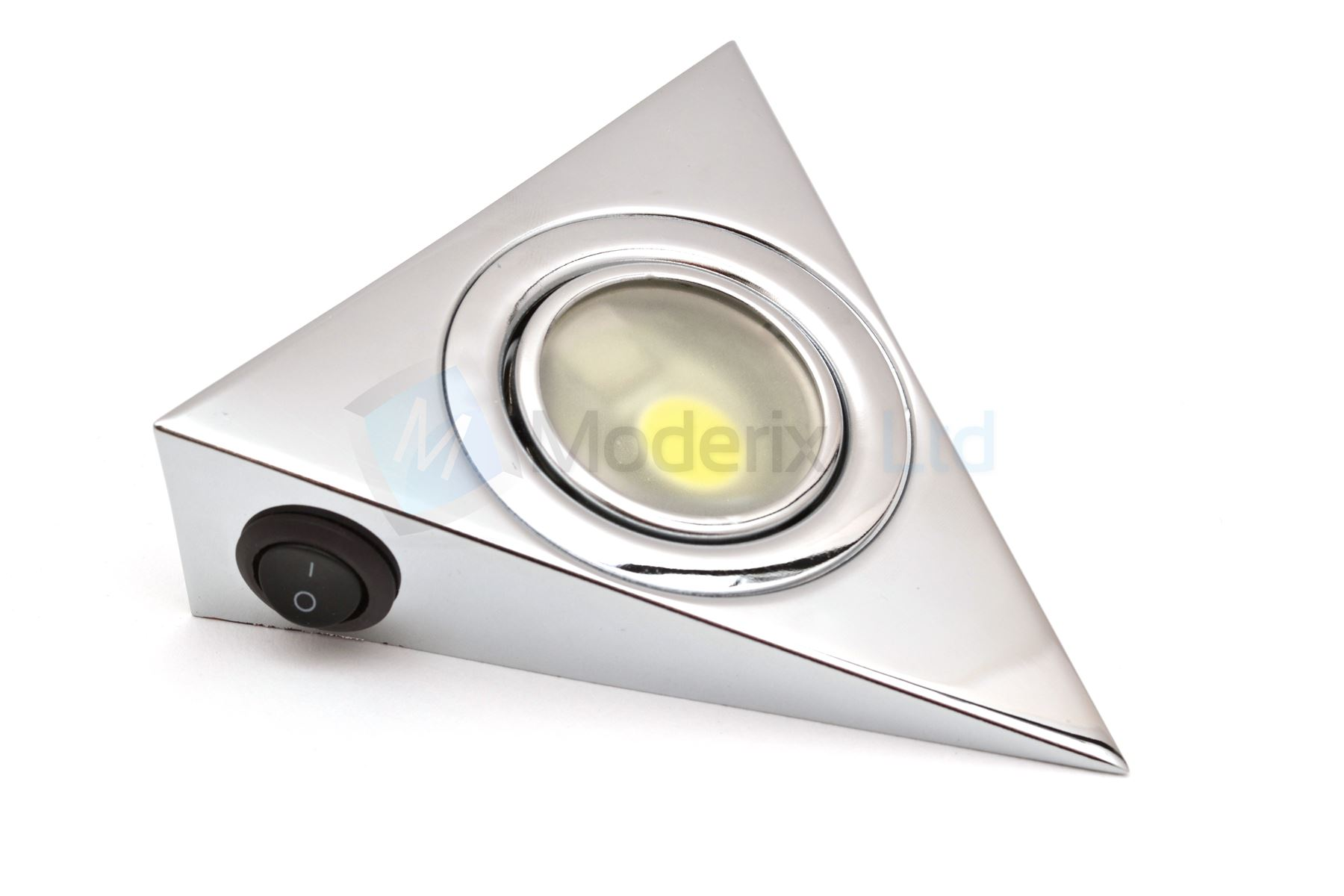 led triangle with switch chrome kitchen under cabinet cupboard light set kit gtv. Black Bedroom Furniture Sets. Home Design Ideas