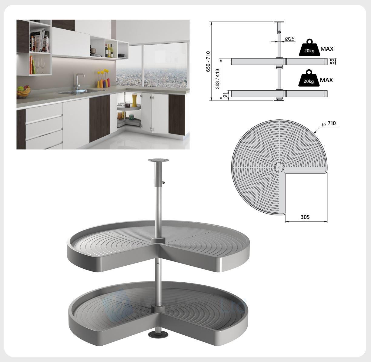 Kitchen corner unit carousel circle 3 4 set 710 or 810mm for Kitchen unit set