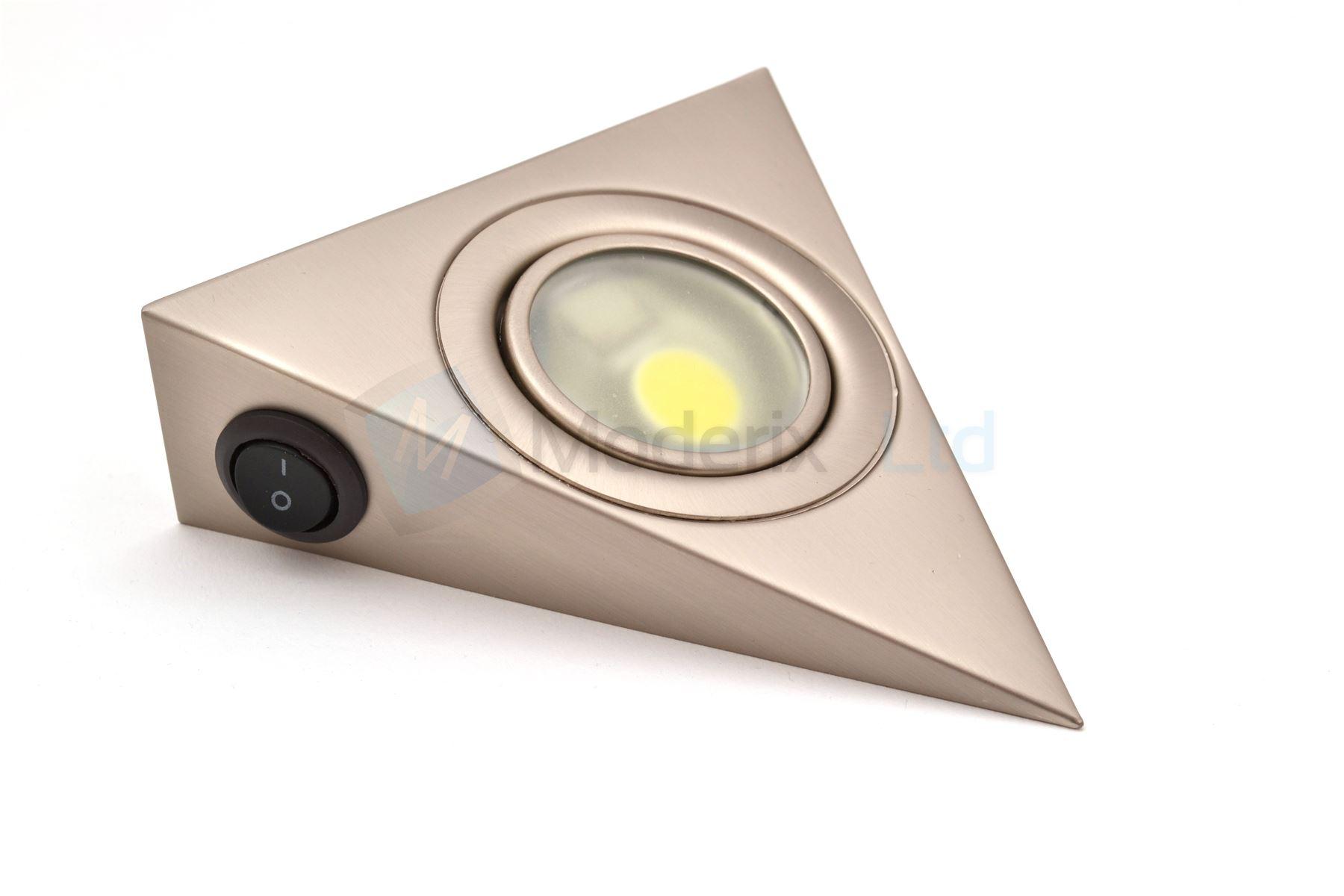 led triangle with switch satin kitchen under cabinet light set kit gtv ebay. Black Bedroom Furniture Sets. Home Design Ideas