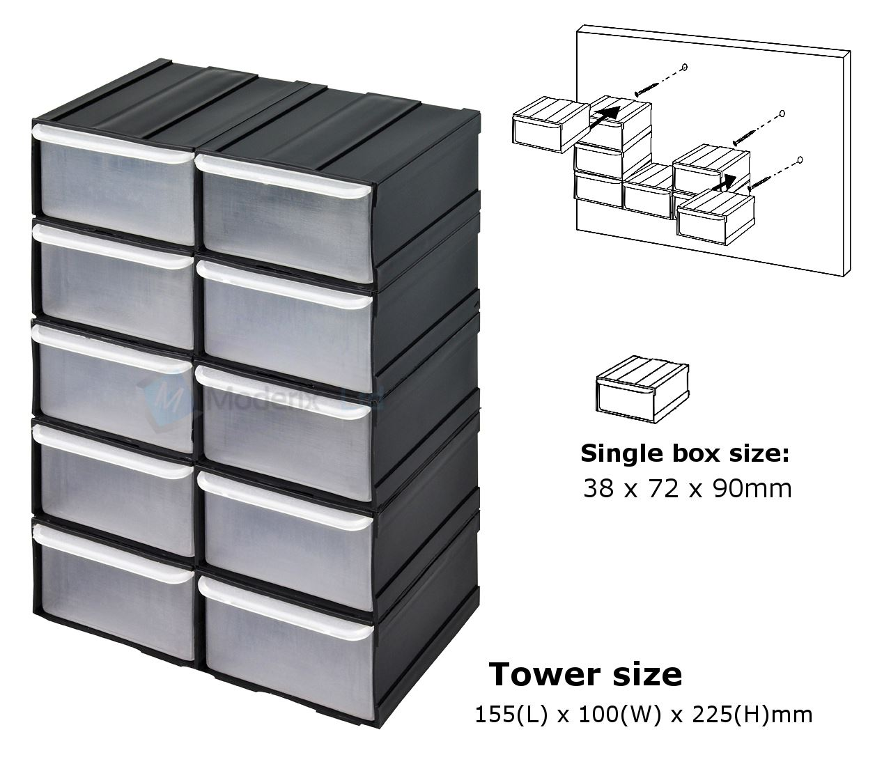 Part Storage For Garages : Pcs plastic parts storage bins boxes tool tidy kit
