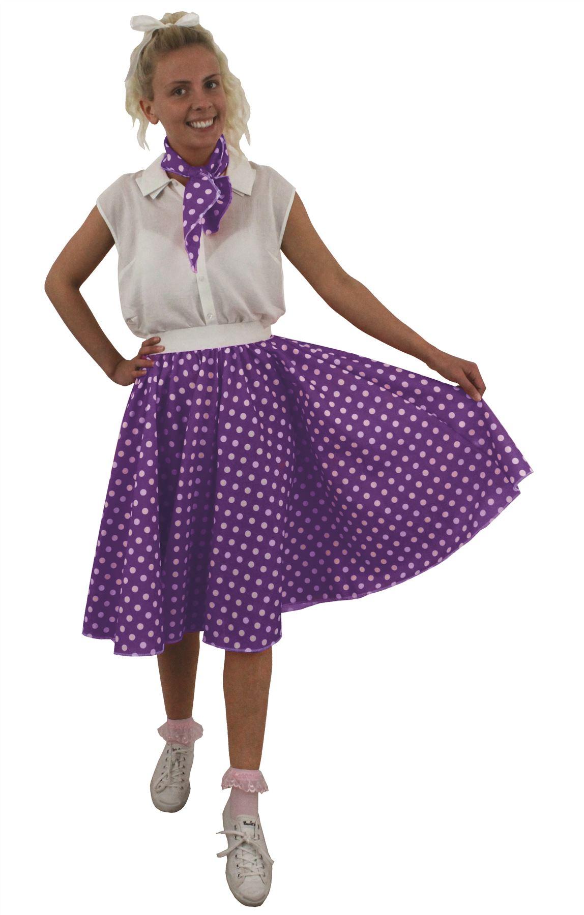 costume pour adulte ann es 50 jupe longue pois rock 39 n 39 roll charpe ebay. Black Bedroom Furniture Sets. Home Design Ideas