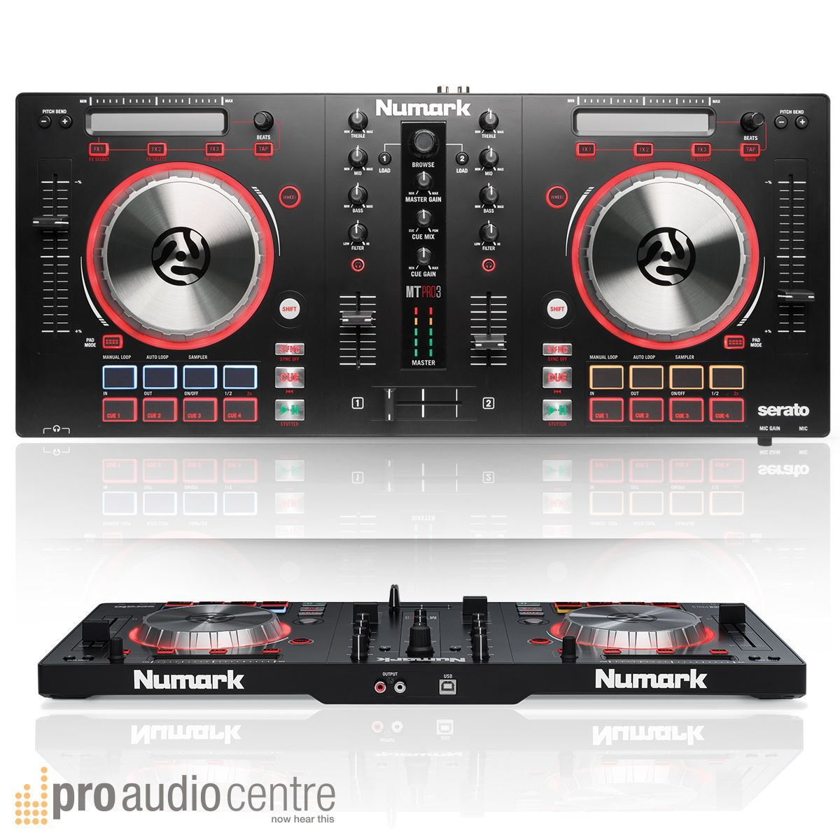 Numark Mixtrack Pro 3 Digital USB DJ Controller with Laptop Stand and Headphones