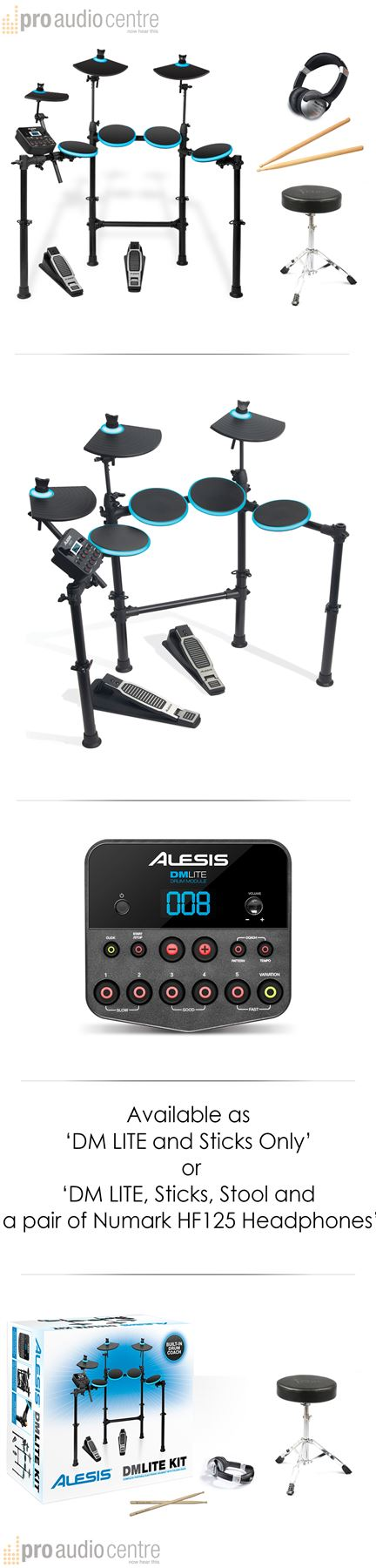 alesis dm lite electronic drum kit stool sticks headphones choose extras ebay. Black Bedroom Furniture Sets. Home Design Ideas