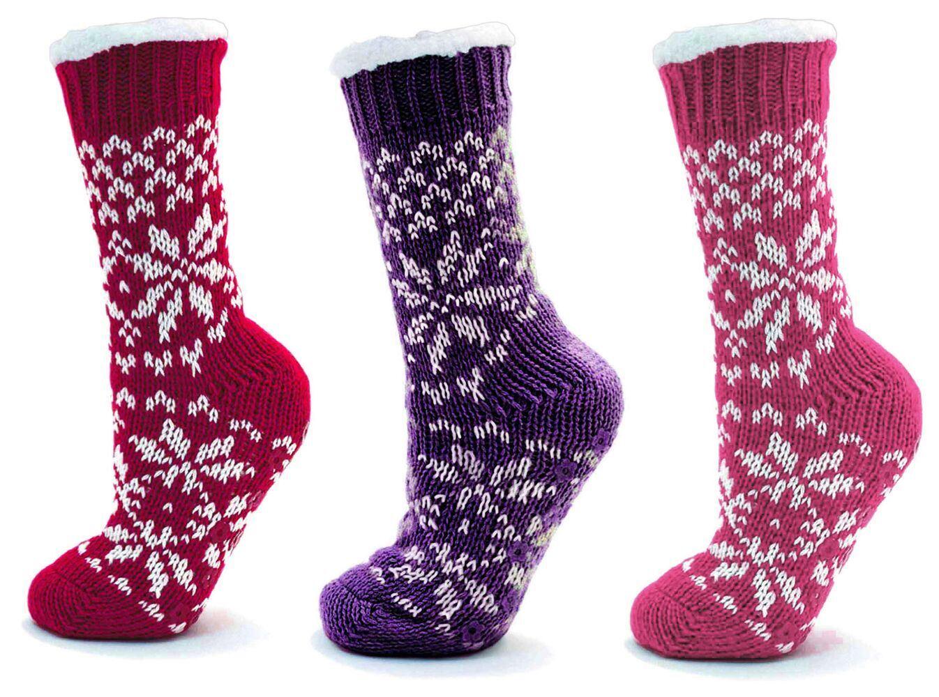 Knitted Fairisle Soft Sherpa Fleece Fur Lined Slipper Socks Gripper Non Slip | EBay