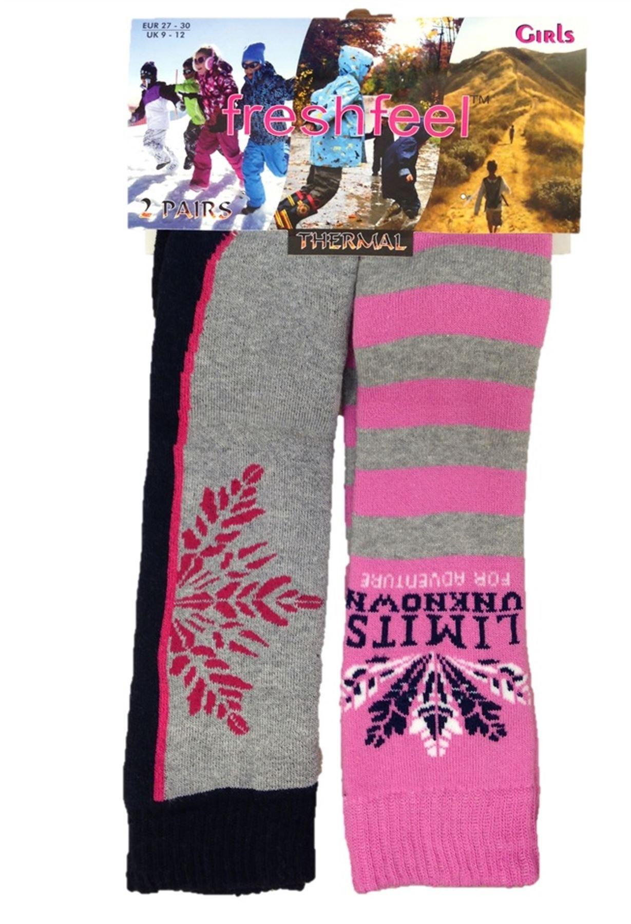 ddd6f5d73 2 Pairs Fresh Feel Boys Or Girls Childrens Kids Thermal Ski Boot ...