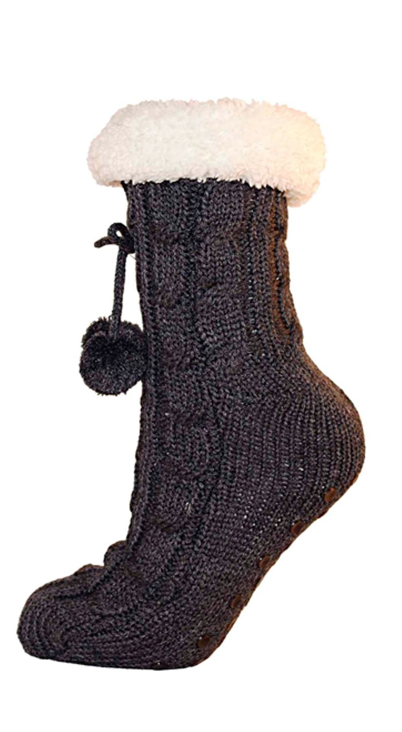 Ladies Cable Knit Fur Lined Slipper Gripper Bed Socks With Pom Poms - One Size | EBay