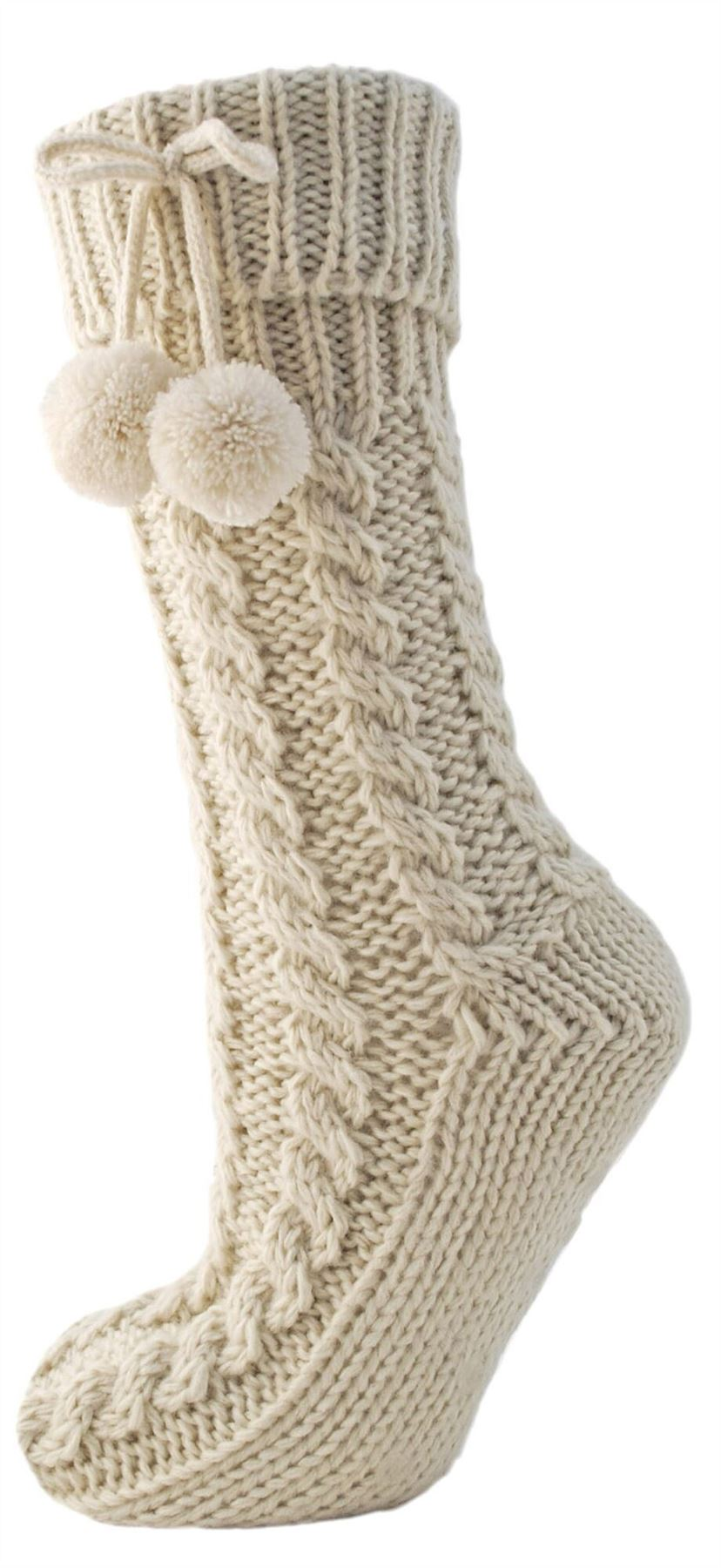 Ladies Non-Skid Chunky Fur Lined Long Cable Knit Slipper Socks Grip Booties | EBay