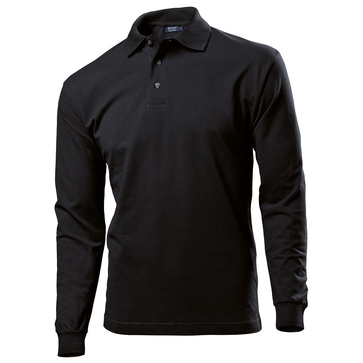 Mens gents hanes polo t shirt top long sleeve 100 cotton for Mens 100 cotton long sleeve t shirts