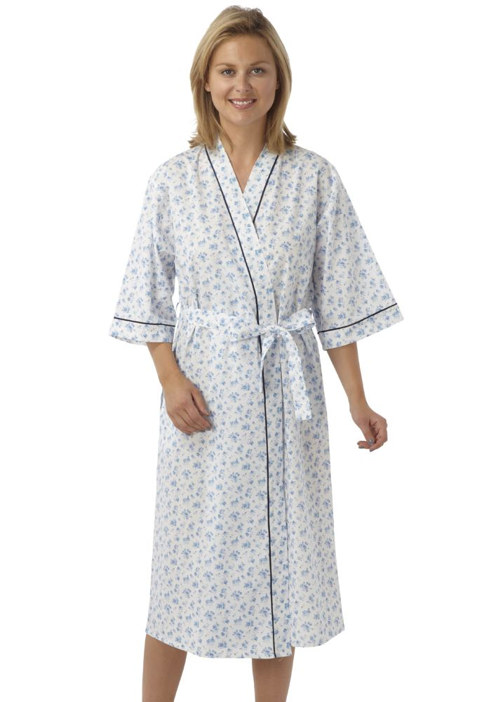 ladies marlon floral poly cotton wrap robe dressing gown. Black Bedroom Furniture Sets. Home Design Ideas