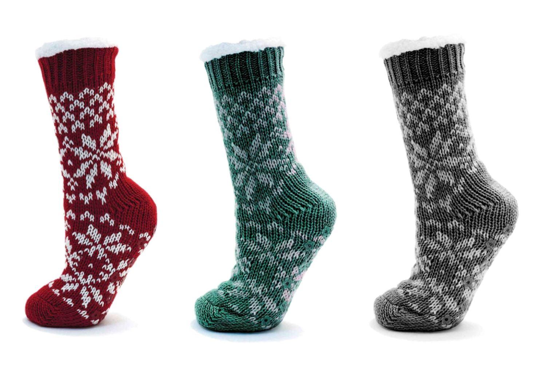 Ladies Knitted Fairisle Soft Fleece Fur Lined Slipper Socks Gripper Non Slip | EBay